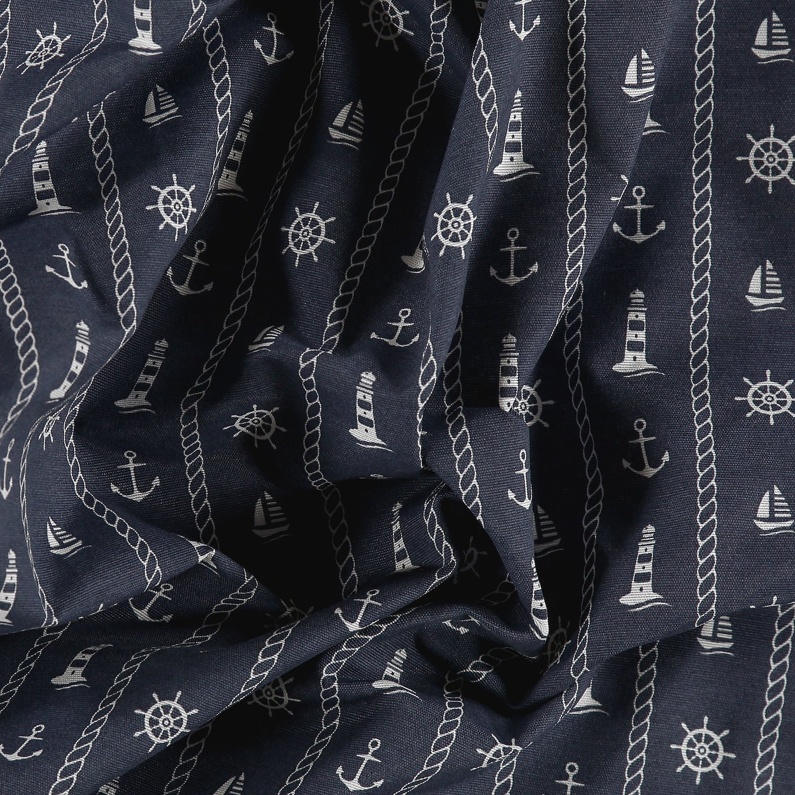 Woven navy with maritime print