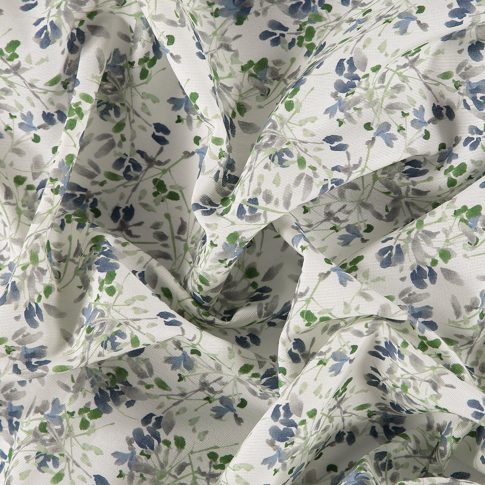 Woven white with blue/grey/green flowers