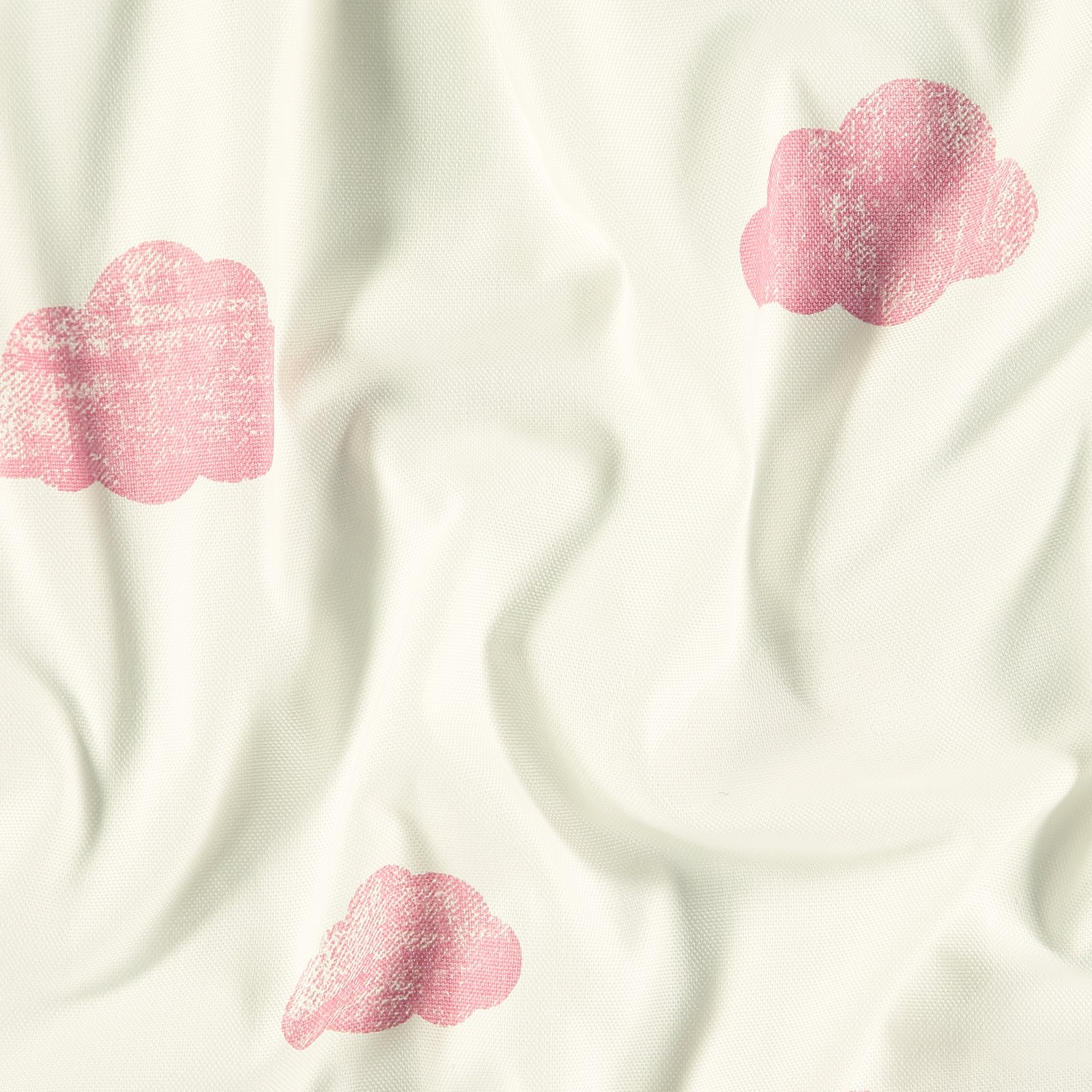 Woven cotton white with pink clouds