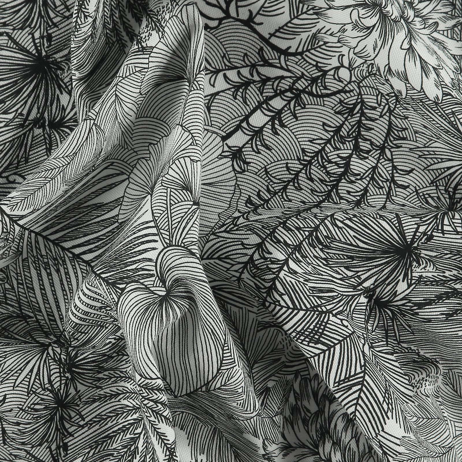 Half panama black/white flower print