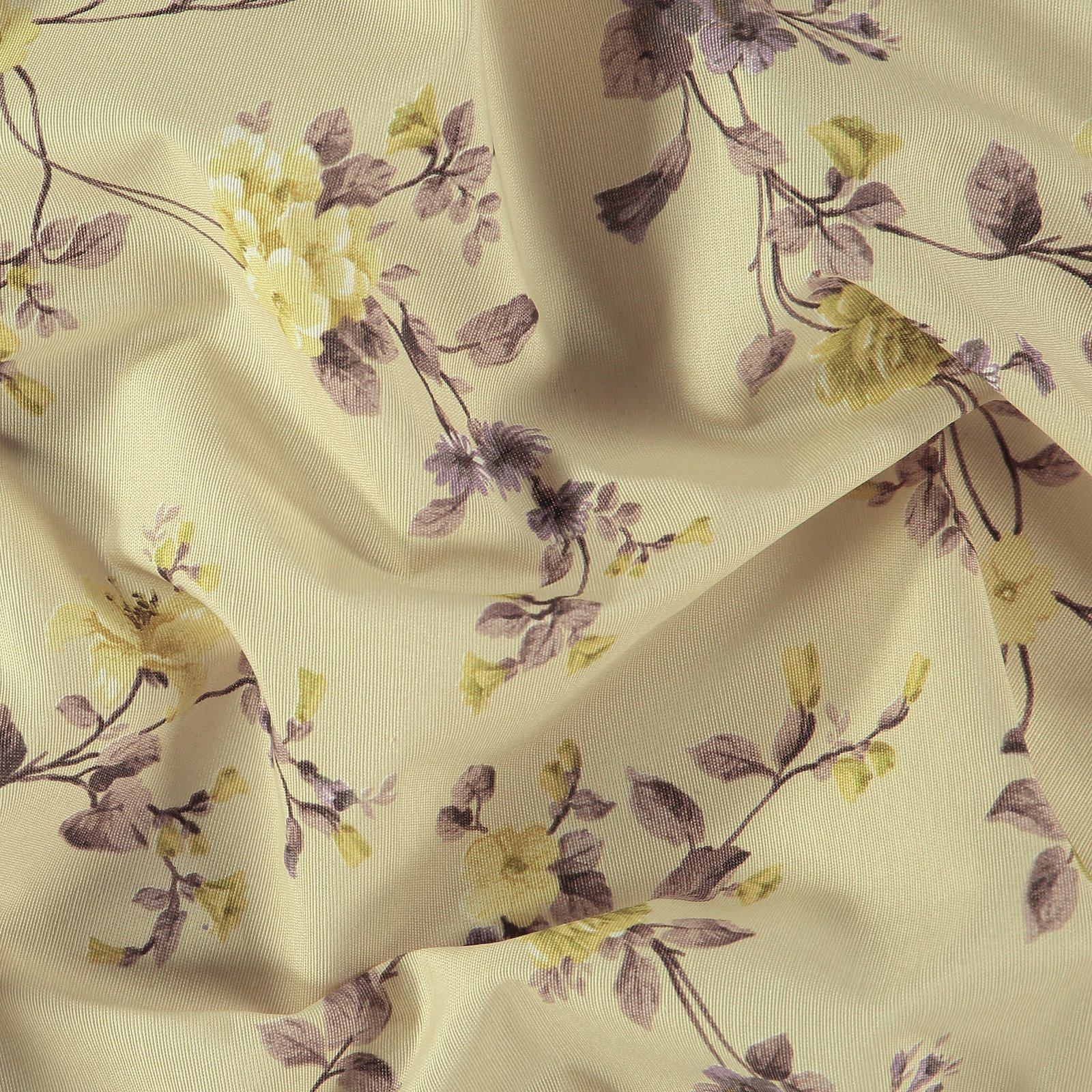 Woven beige with purple/yellow flowers