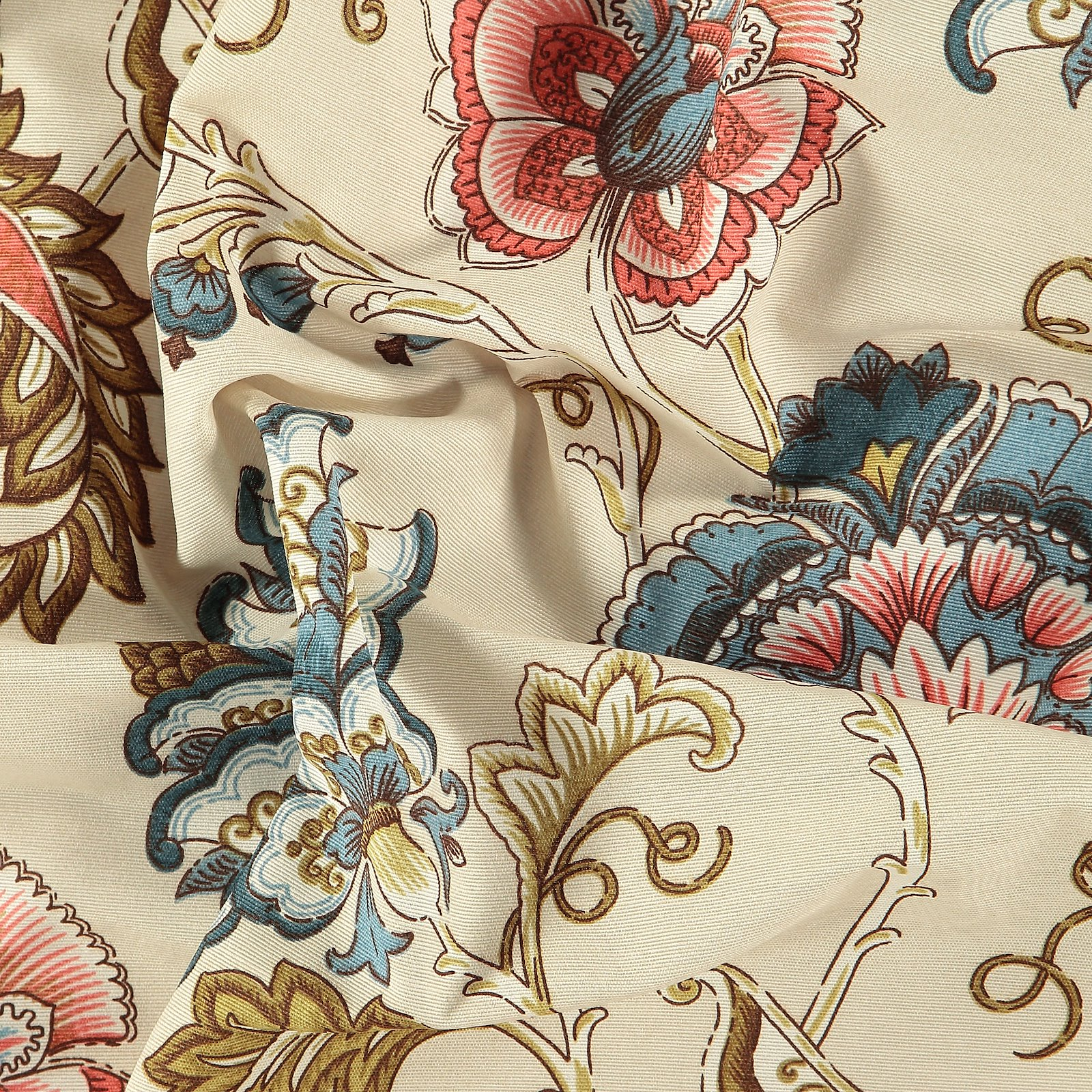 Woven beige with big flowers