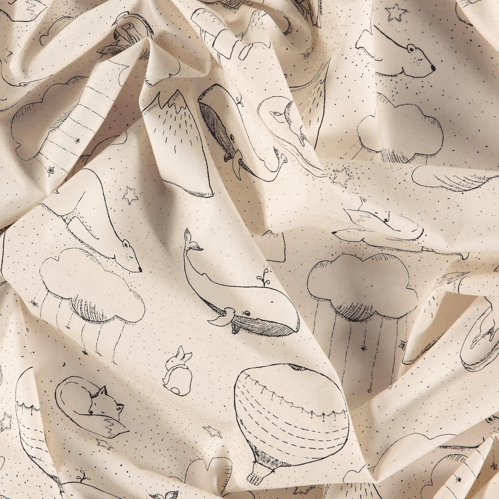 Organic Baumwolle, Natur mit Tierprint