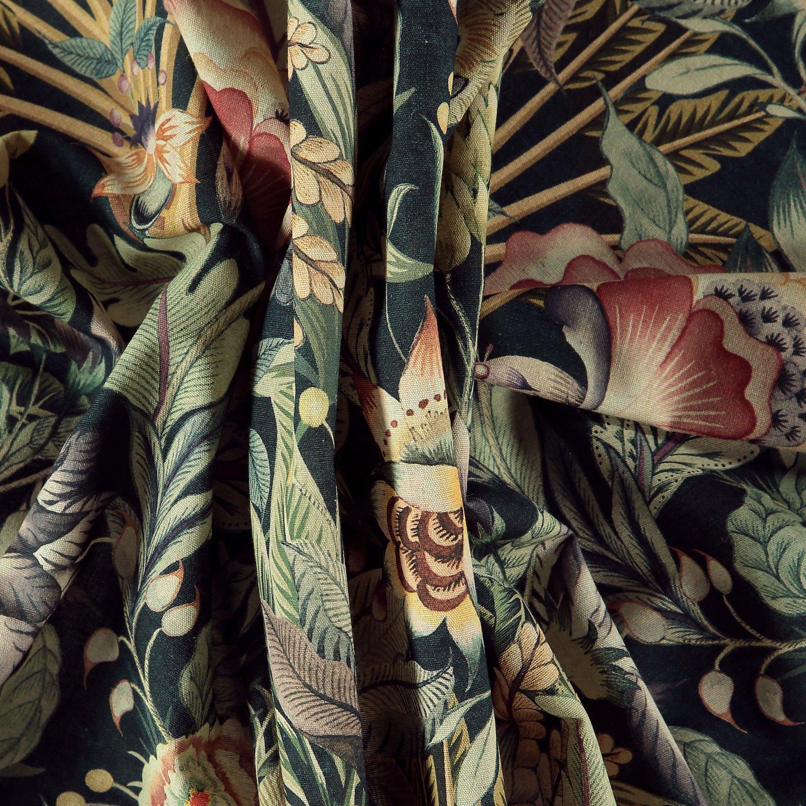 Woven cotton/linen dark petrol w flowers