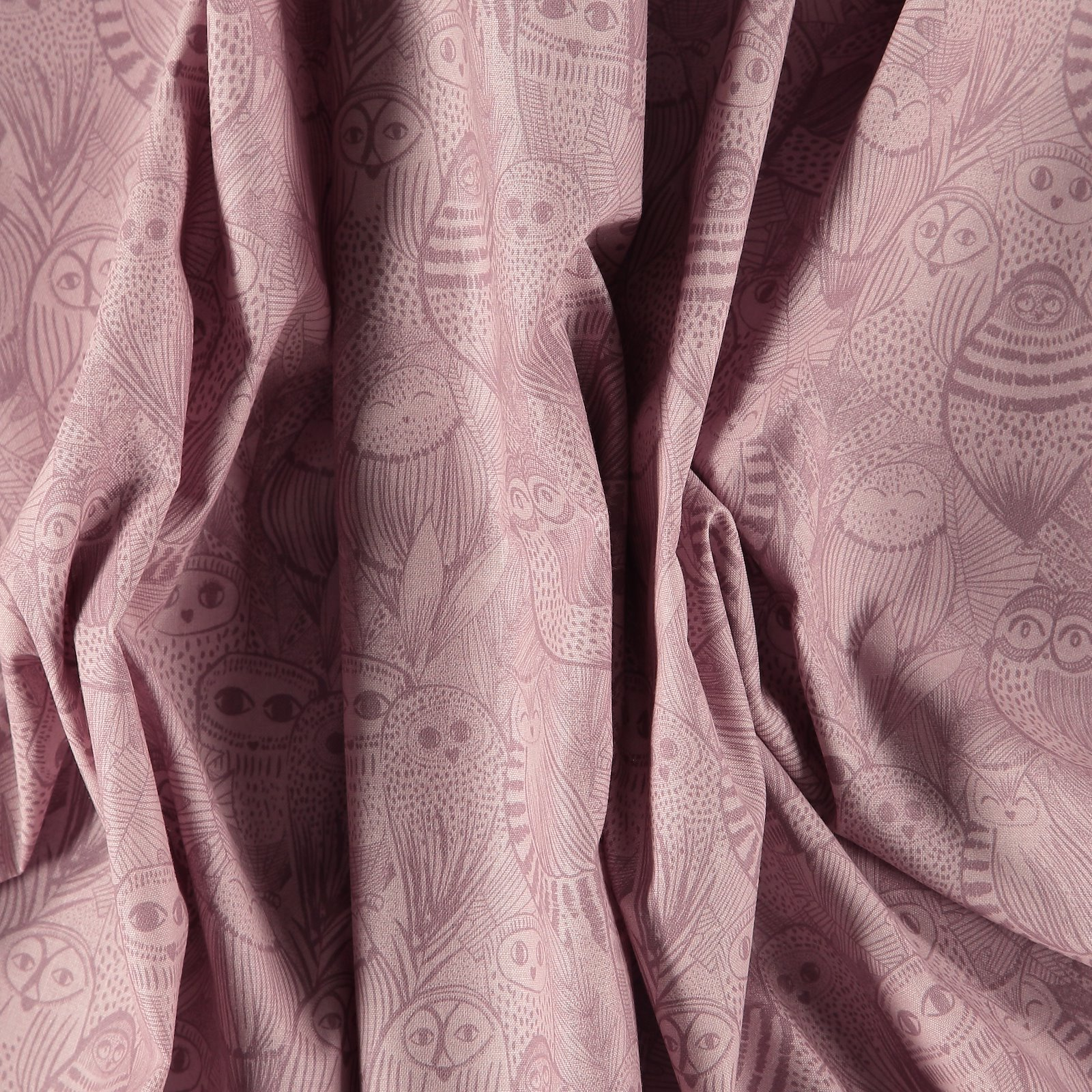Organic cotton dusty pink with owls