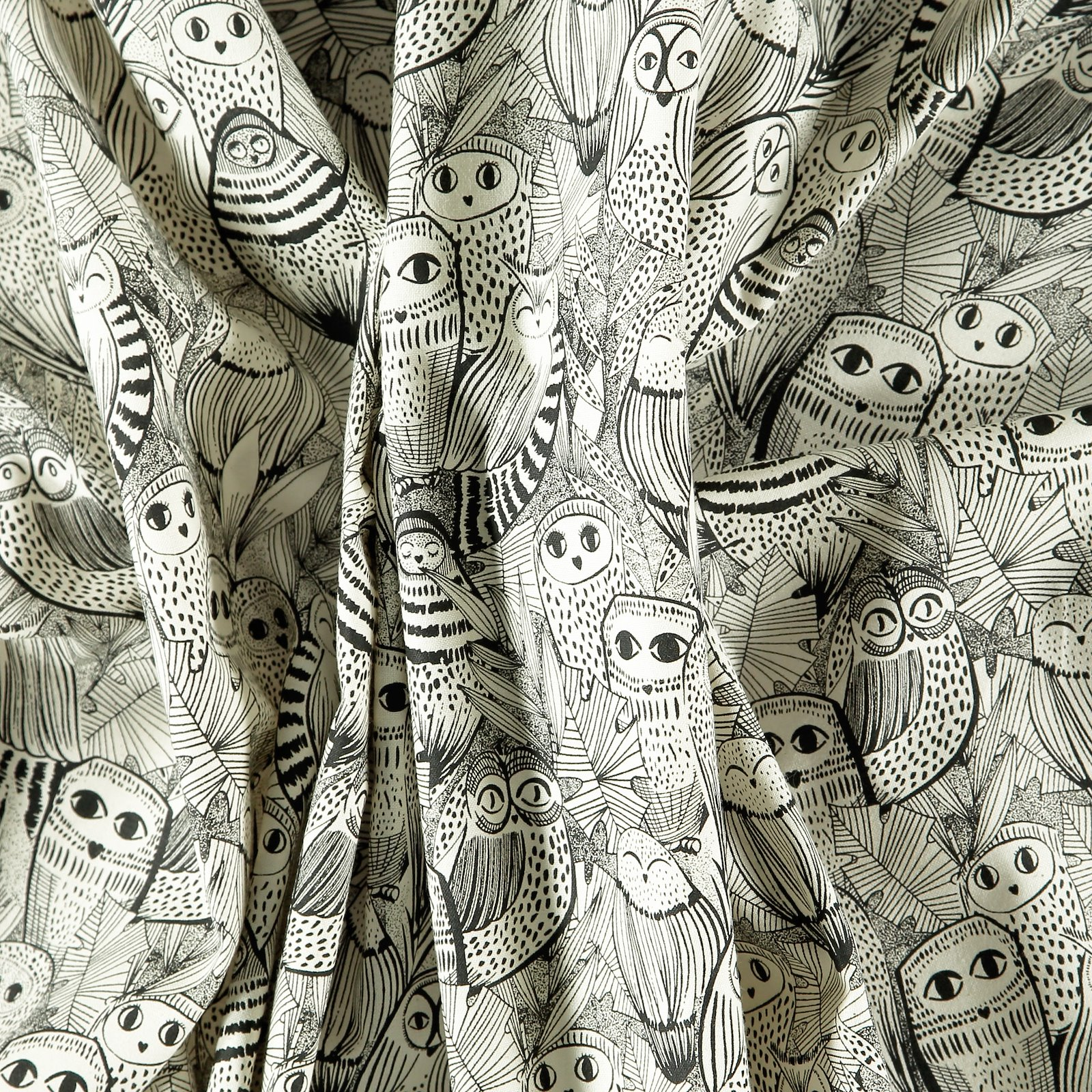 Organic cotton unbleached with owls