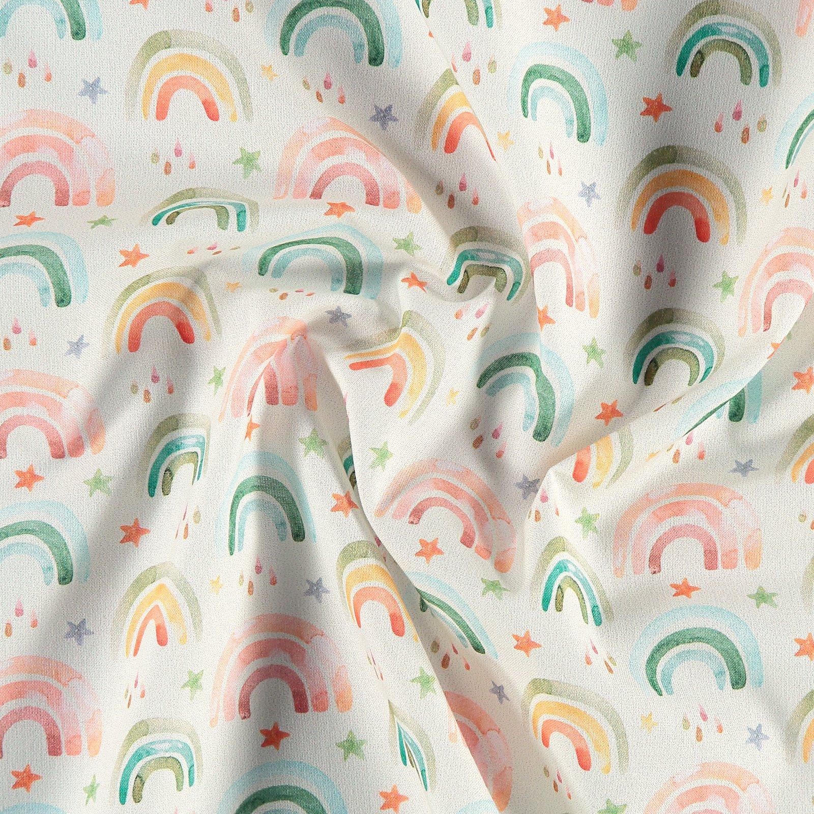 Baumwolle, Offwhite mit Regenbogen