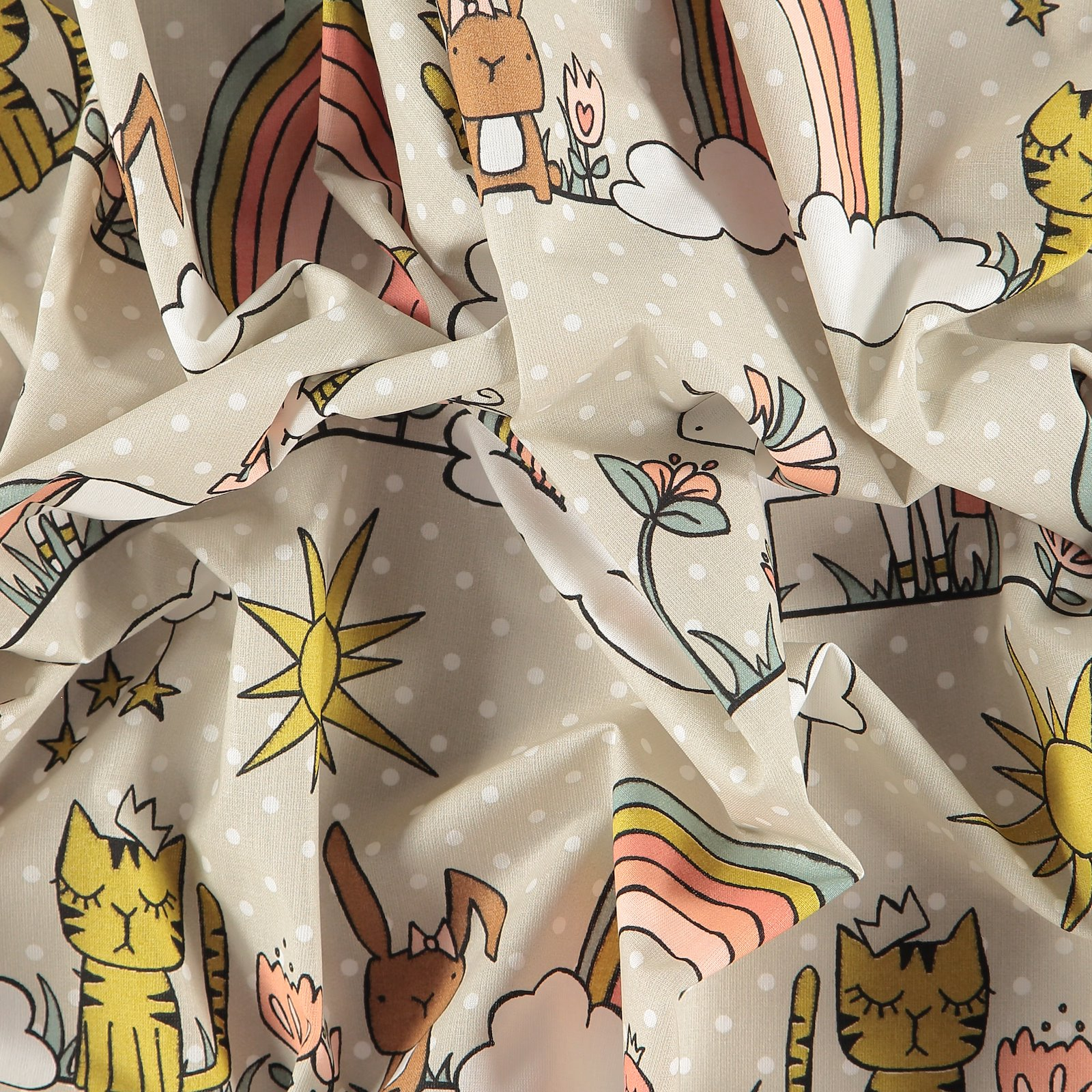 Cotton light sand with dots and animals