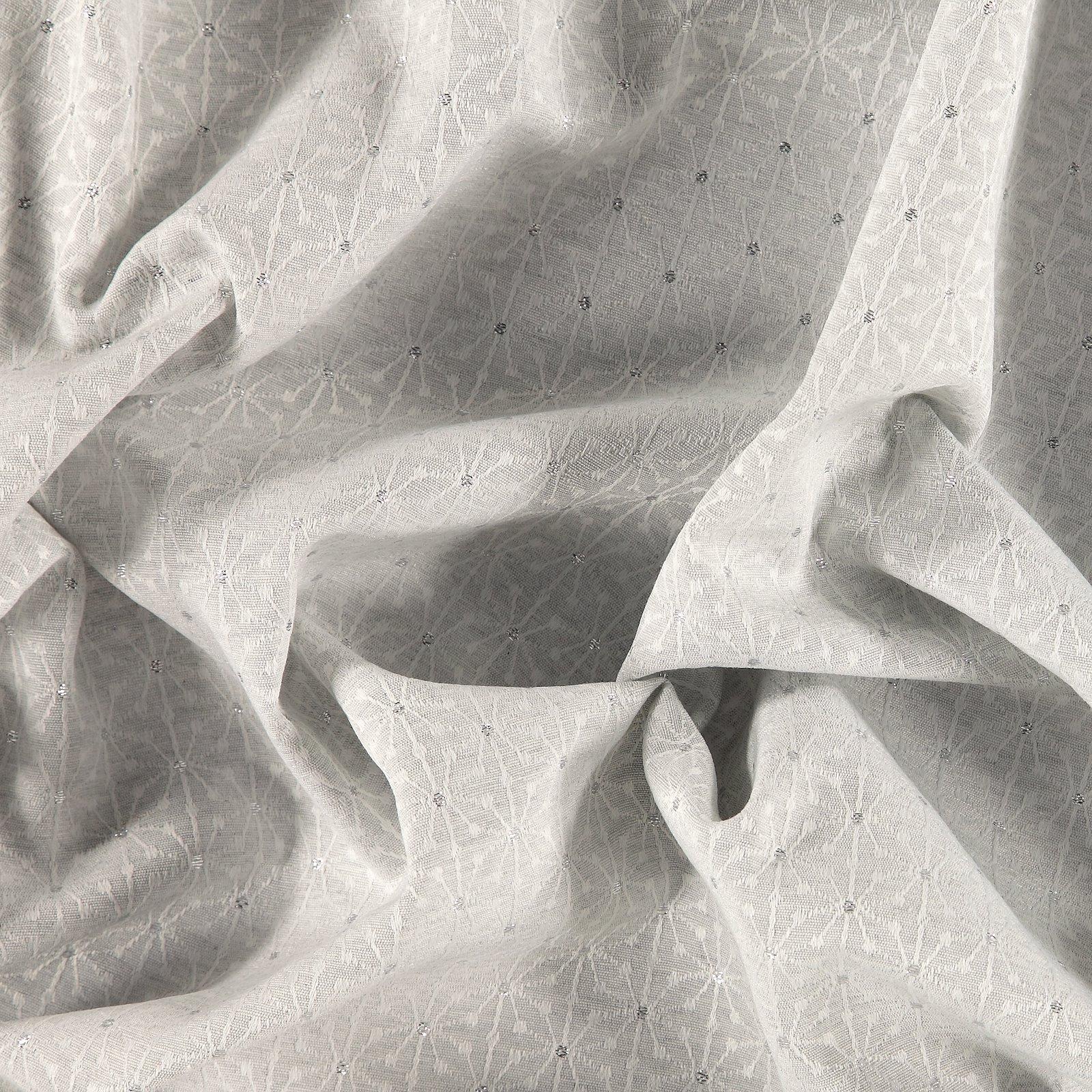 Jacquard Yarn dyed grey w white flowers