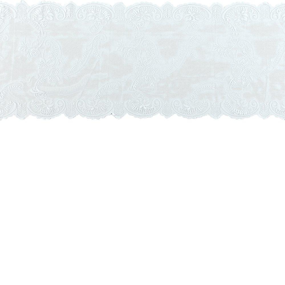 Lace mol white w rose edging 35cm