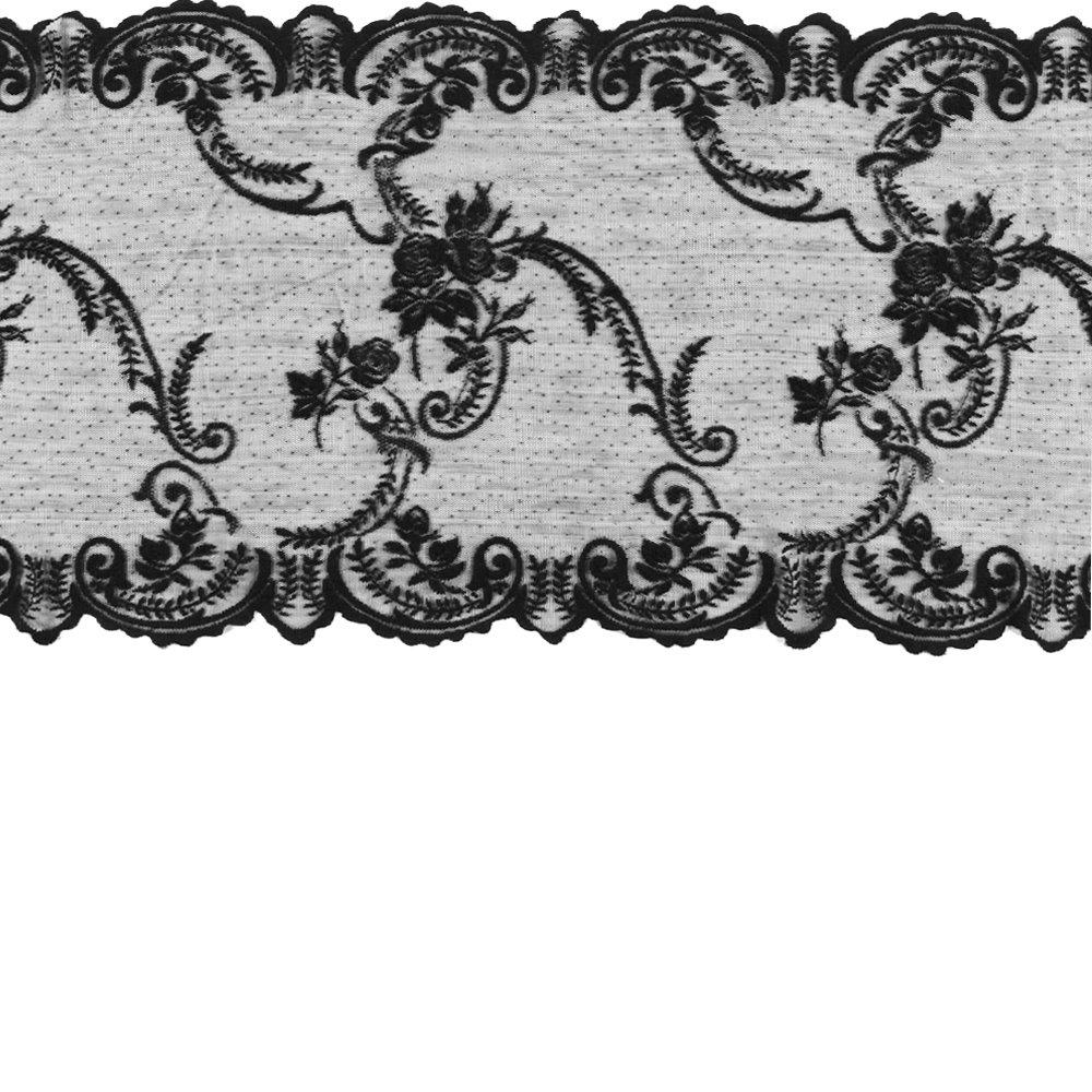 Lace mol black w rose edging 35cm