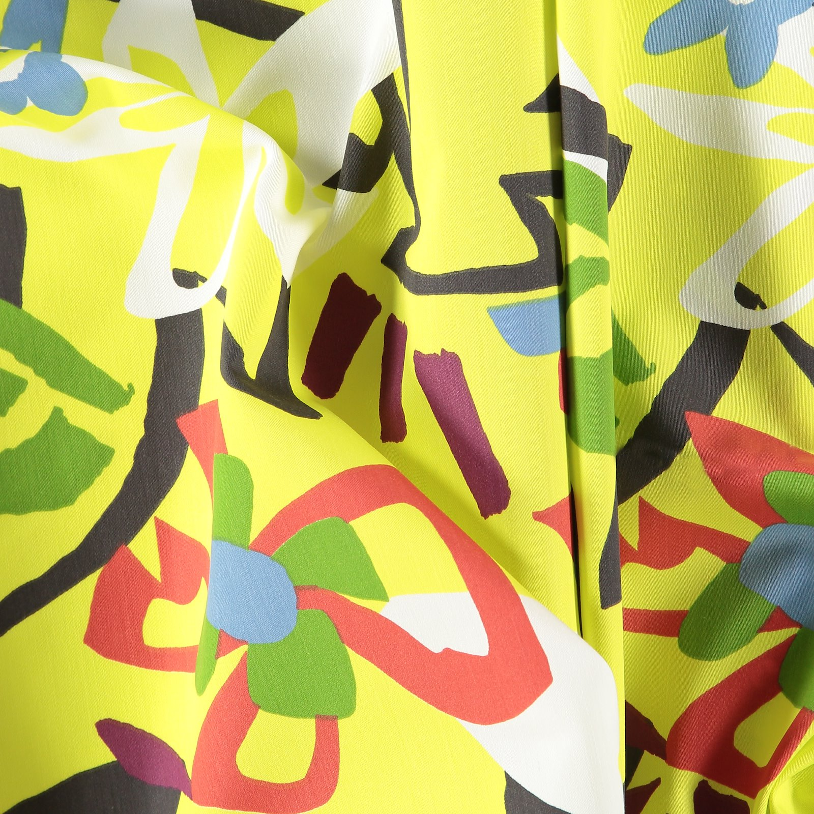 Satin yellow with graphic flowers