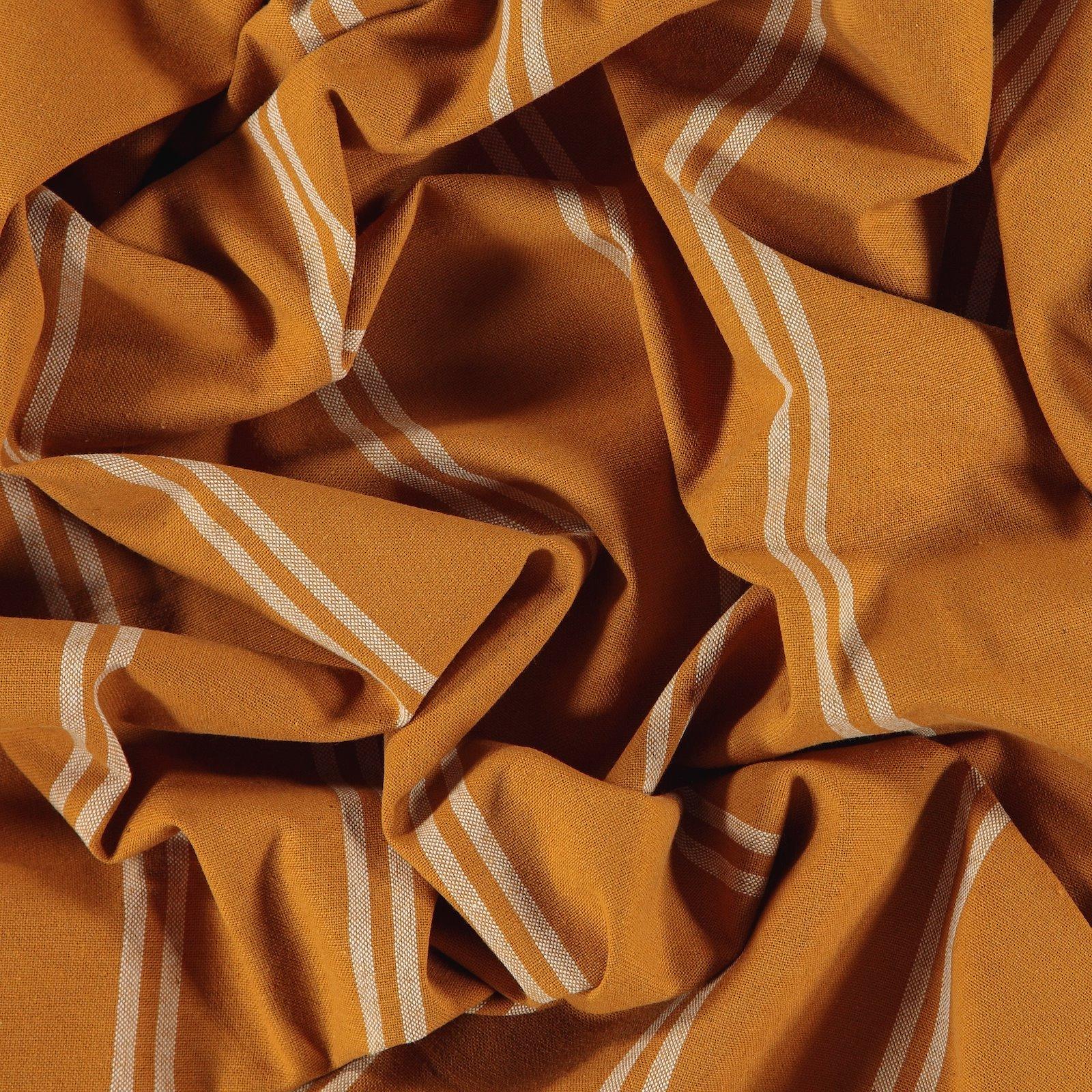 Woven yarn dyed golden brown stripe