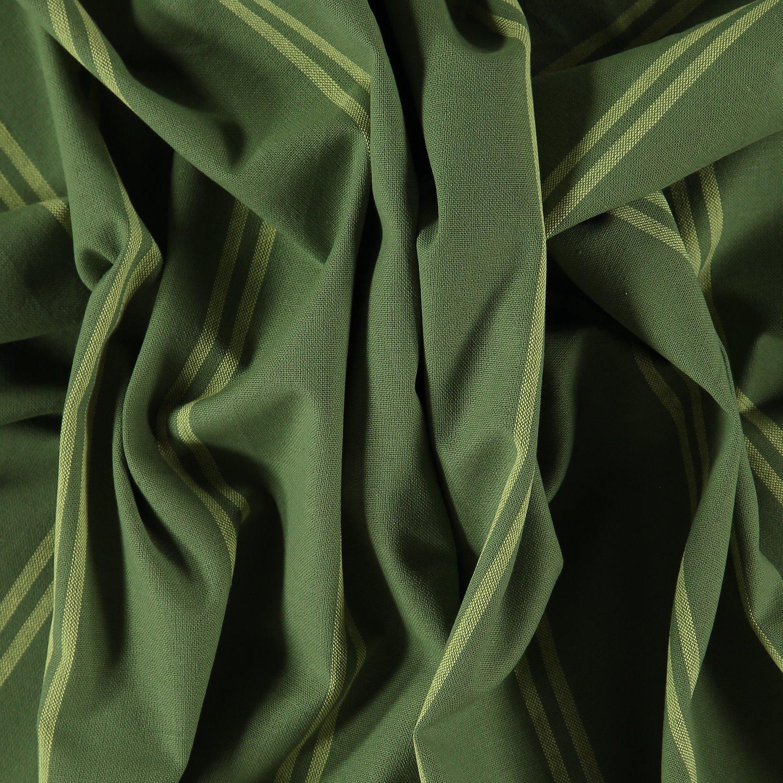 Woven yarn dyed sage/light lemon stripe
