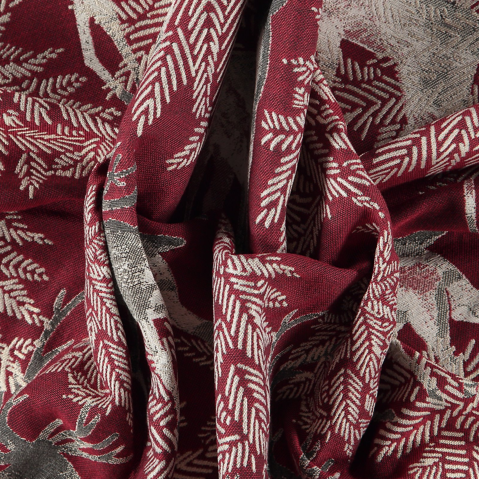 Jacquard red with deer and branches