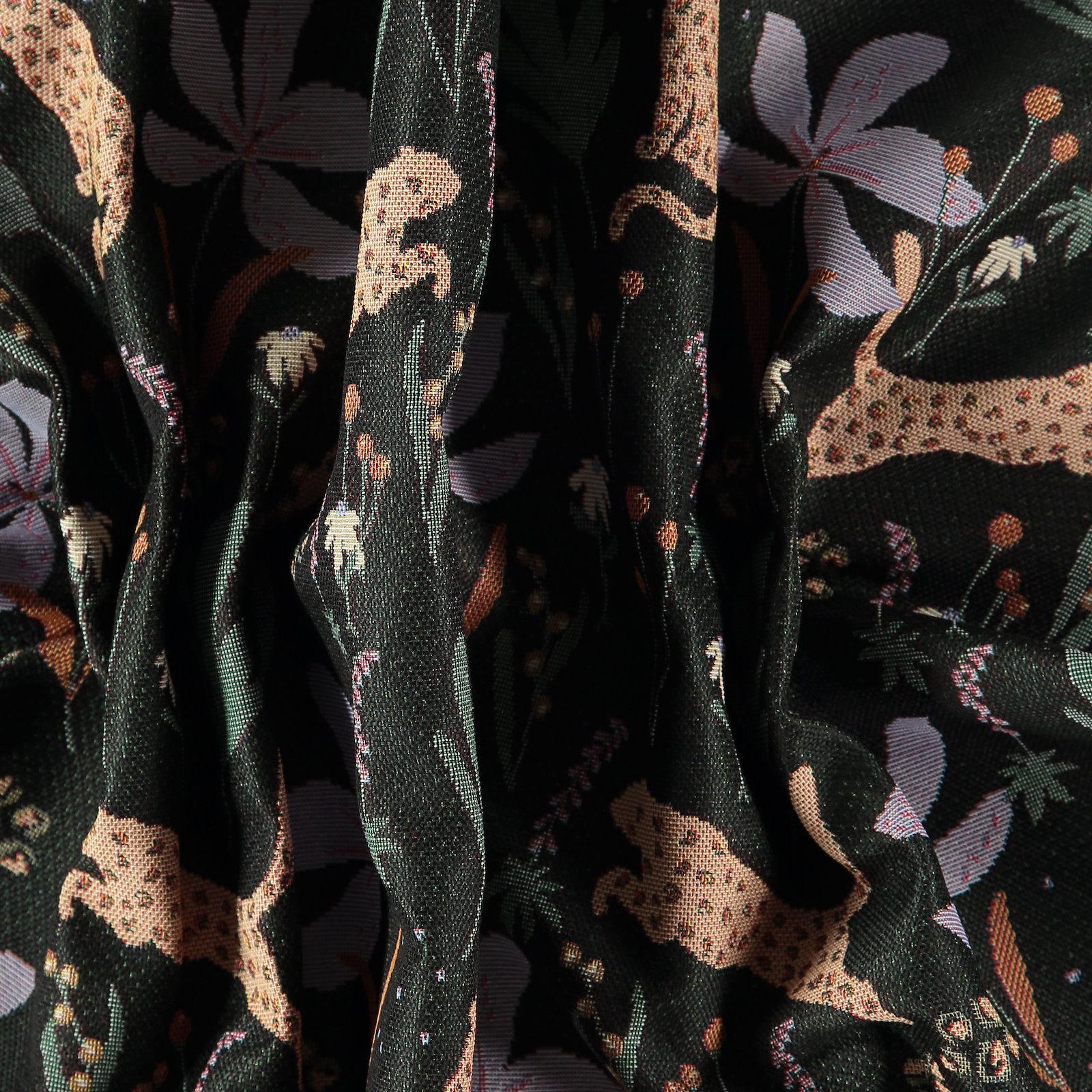 Jacquard black with leopard and flowers