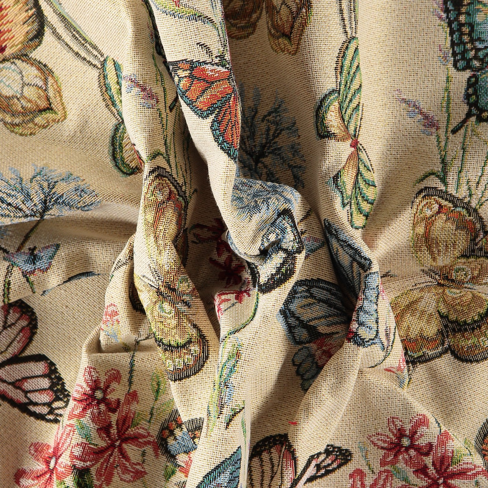 Jacquard beige w butterfly and flowers