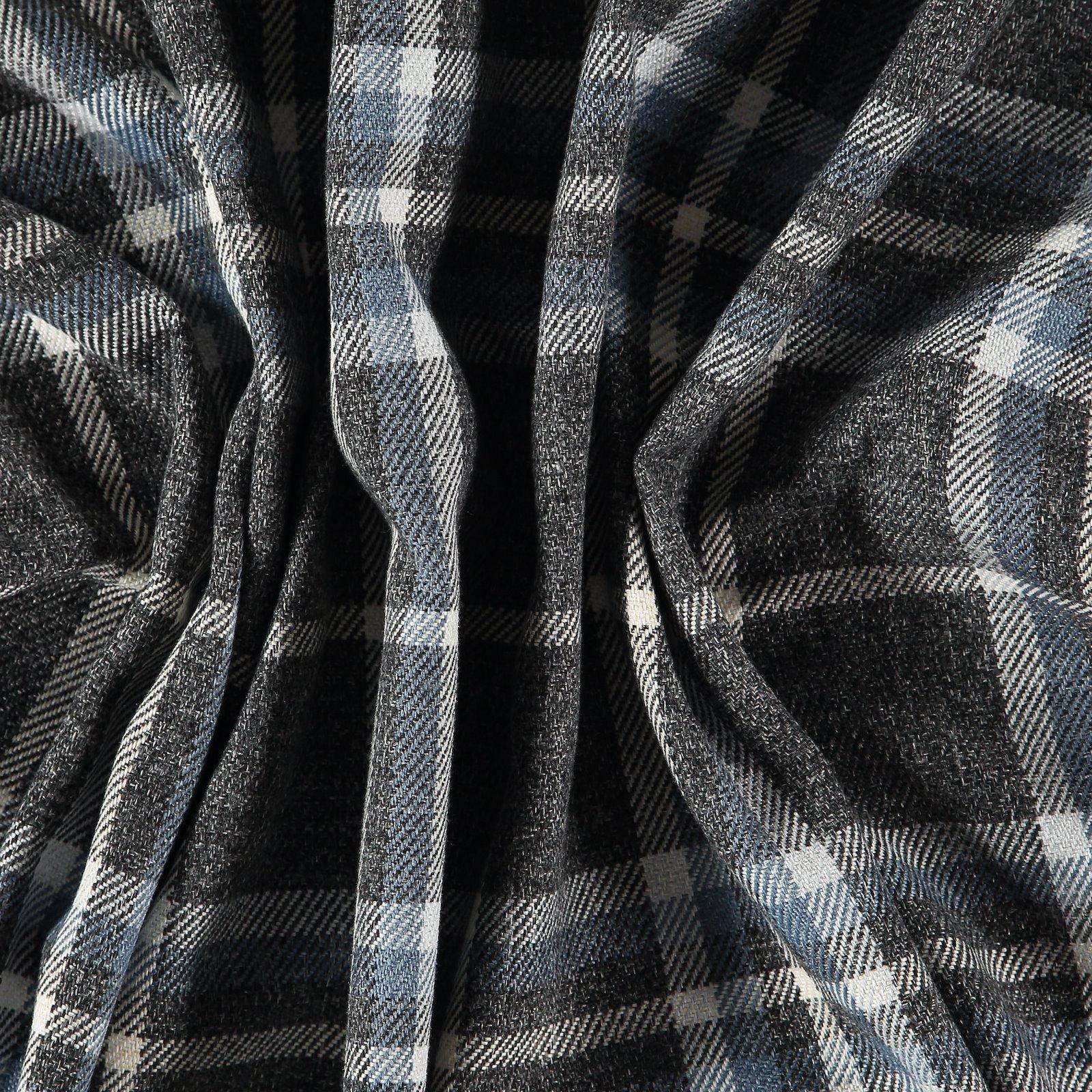 Upholstery wool look grey/blue checks