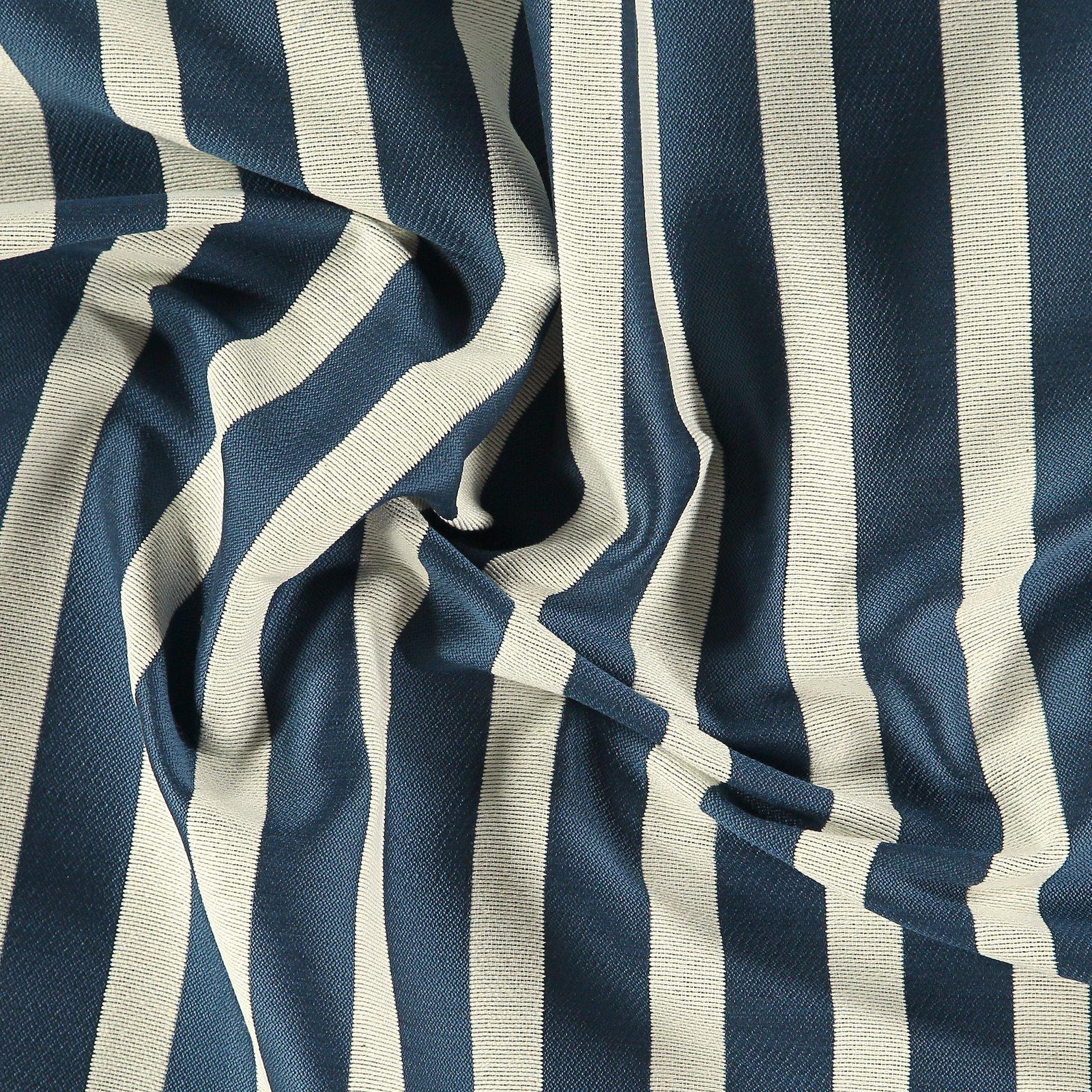 Jacquard yarn dyed petrol/sand stripe