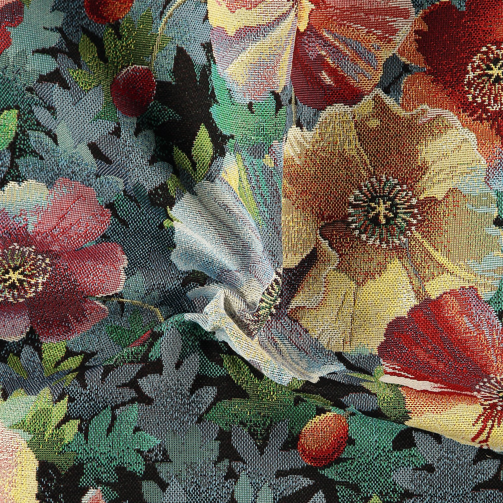 Gobelin black with multicolor flowers
