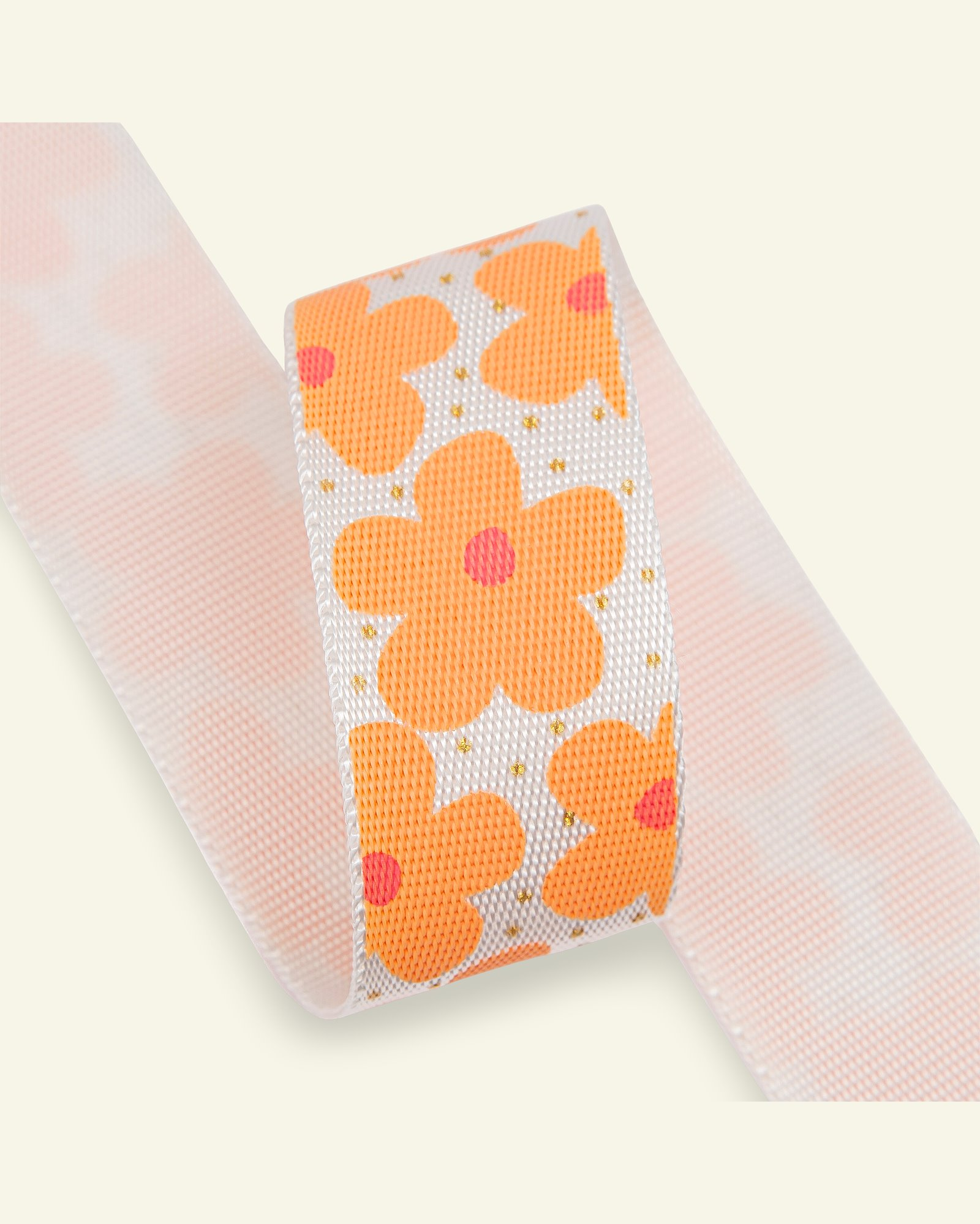 Ribbon flowers 32mm coral/off white 2m