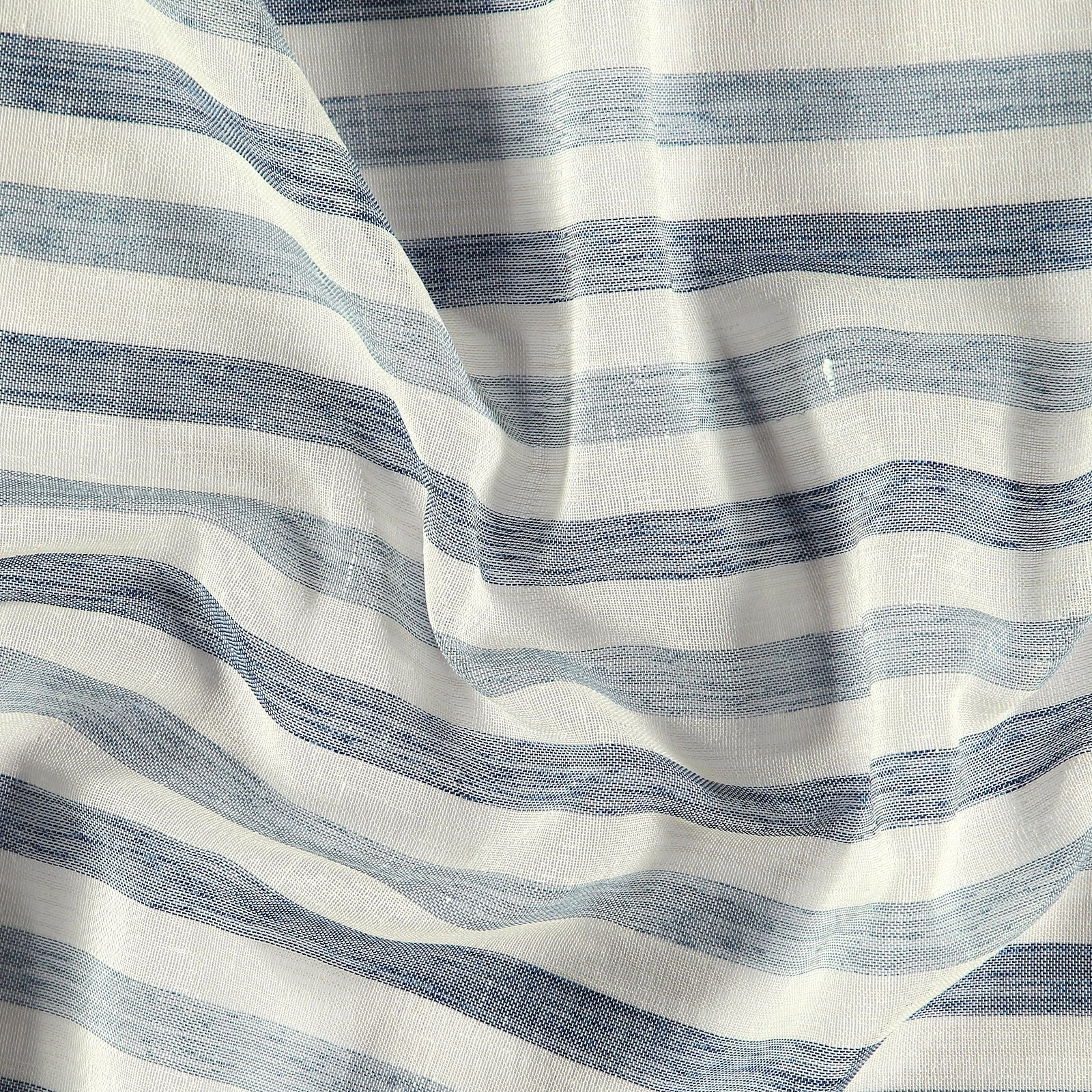 Voile nature/dusty blue stribes