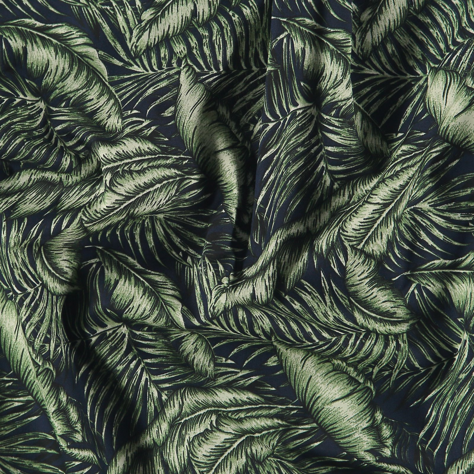 Cotton navy with green palm leaves