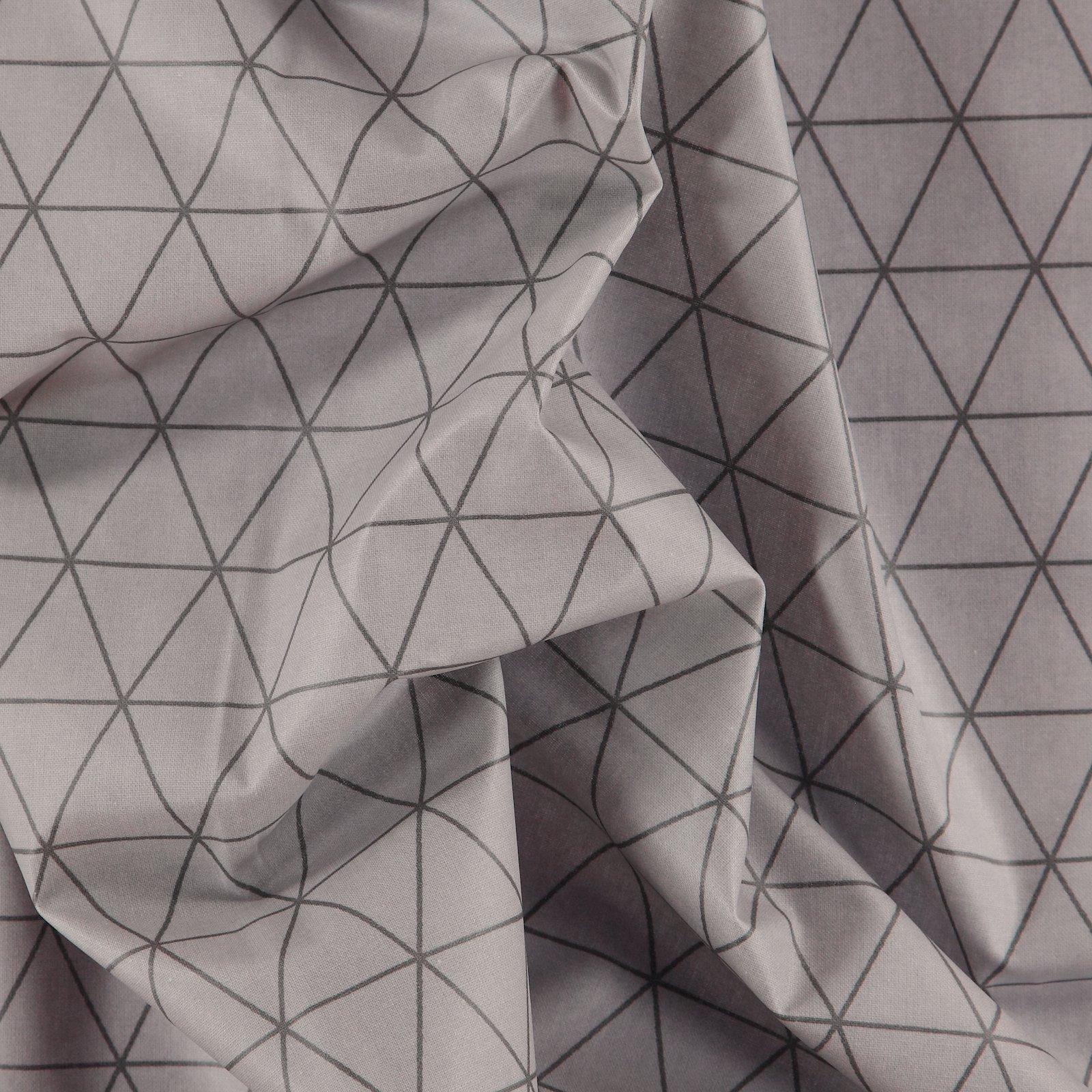 Woven oil cloth grey w dark grey graphic
