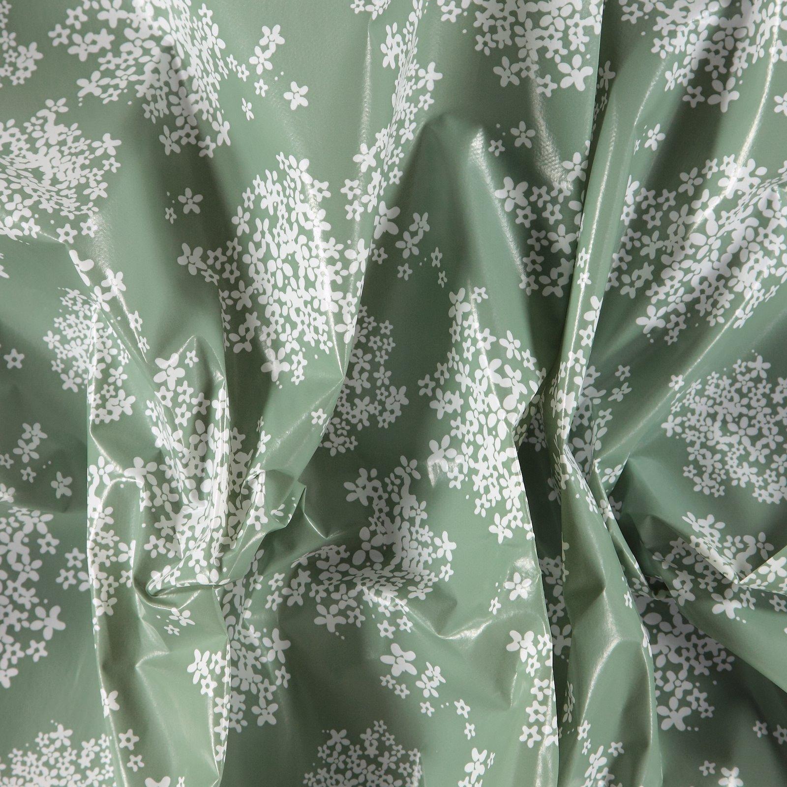 Non-woven oilcloth green w elderflower