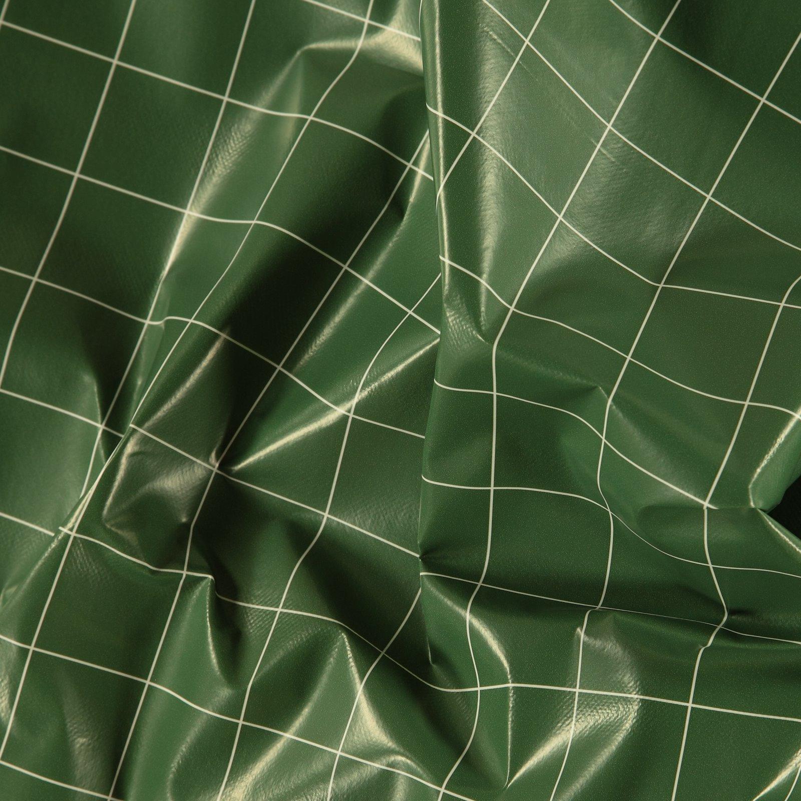 Non-woven oilcloth green mint w check