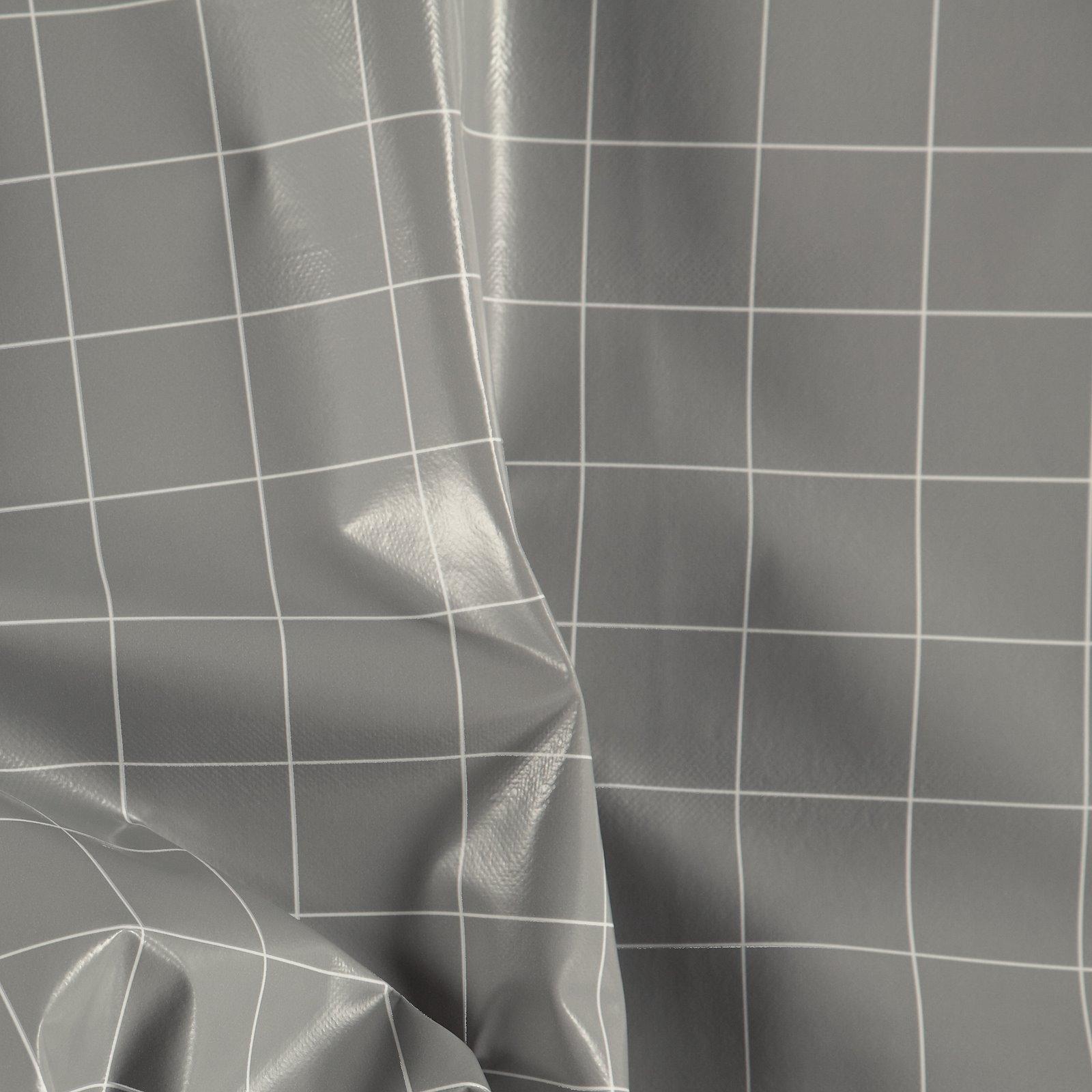 Non-woven oilcloth light grey w check
