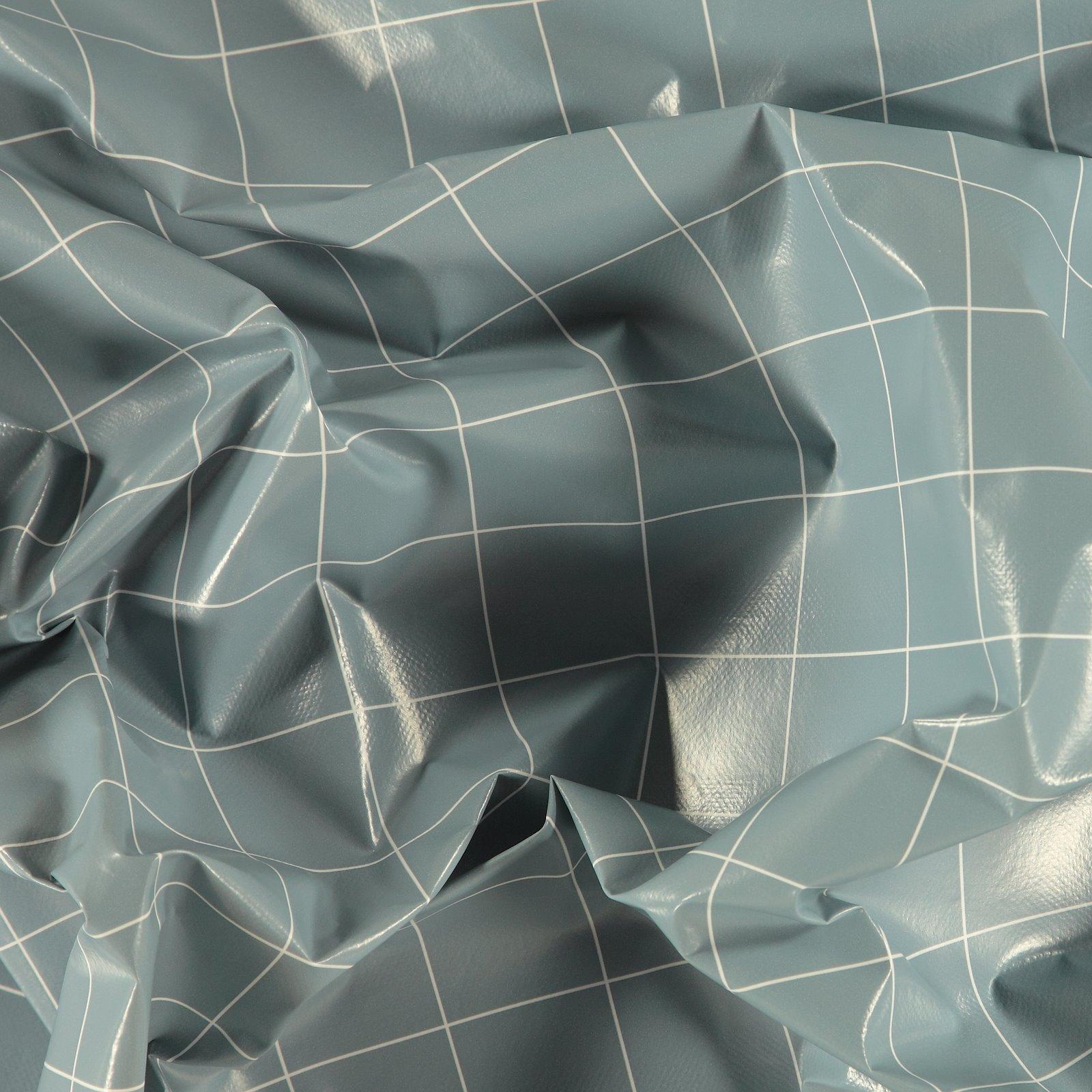 Non-woven oilcloth light blue w check