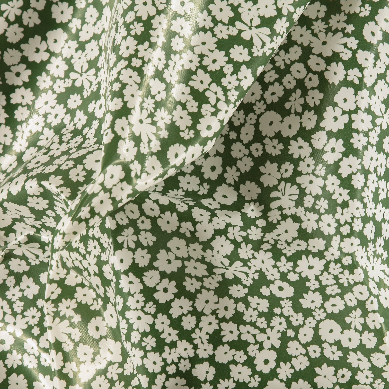 Non-woven oilcloth green mint w flowers