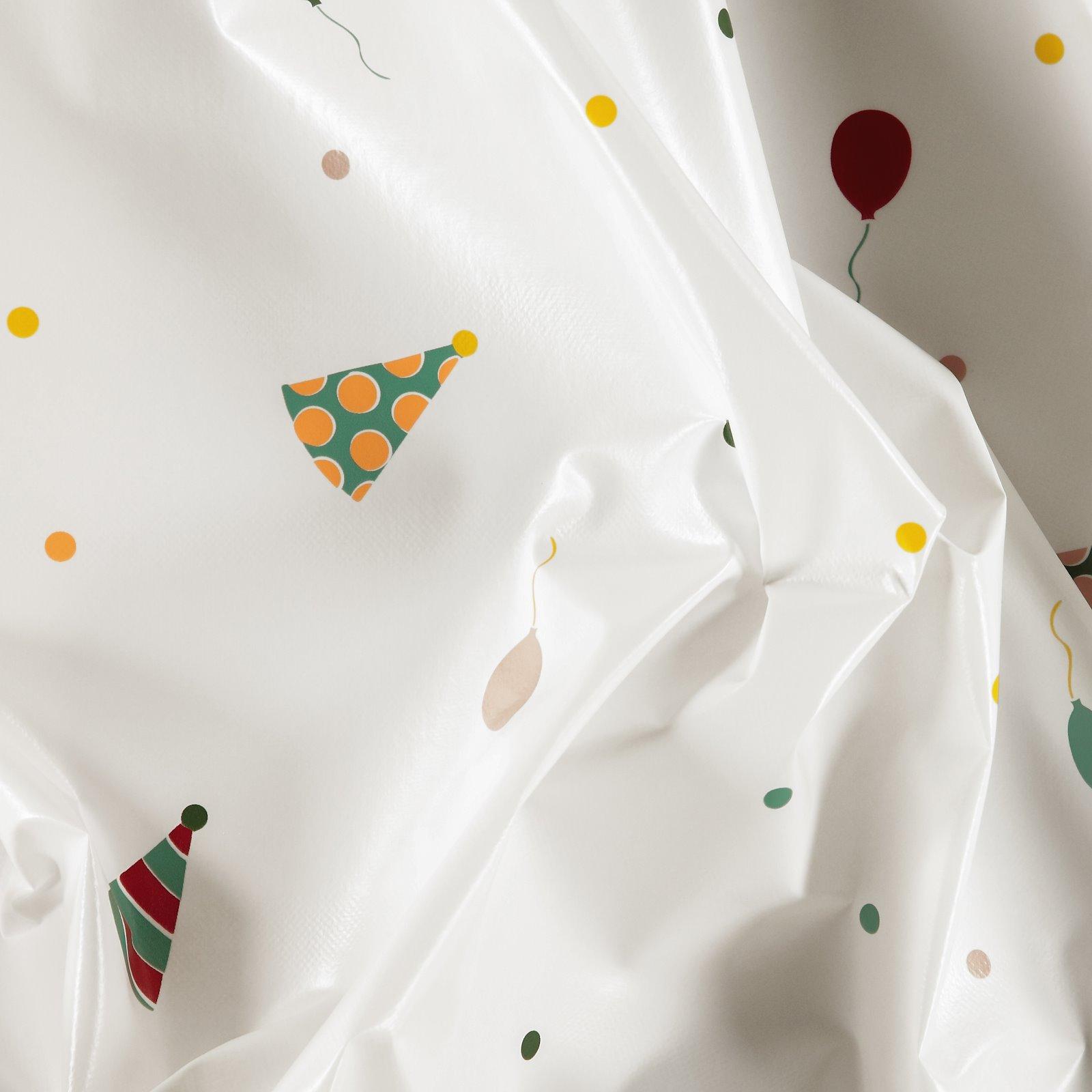 Non-woven oilcloth white w dots/balloons