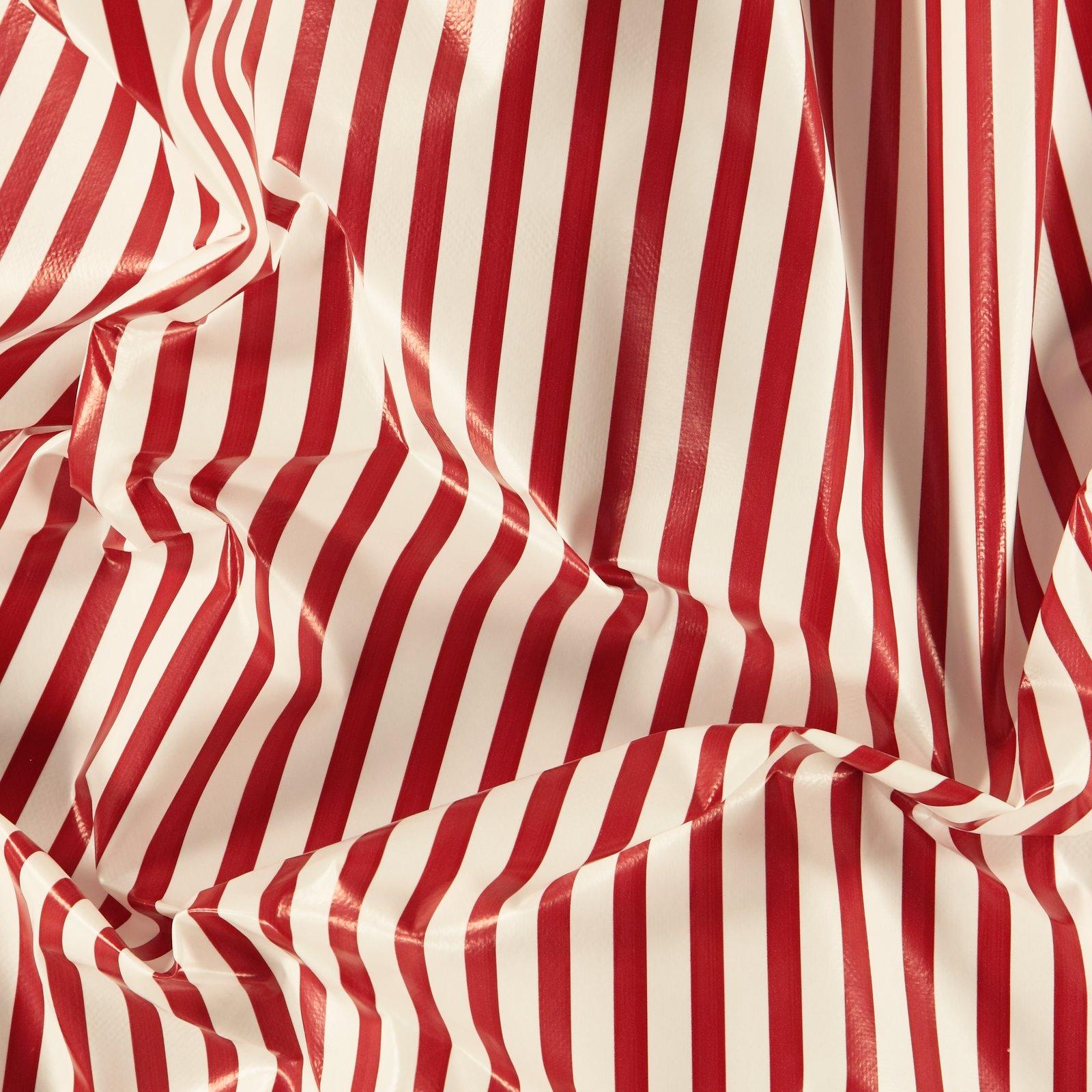 Non-woven oilcloth red/white stripes