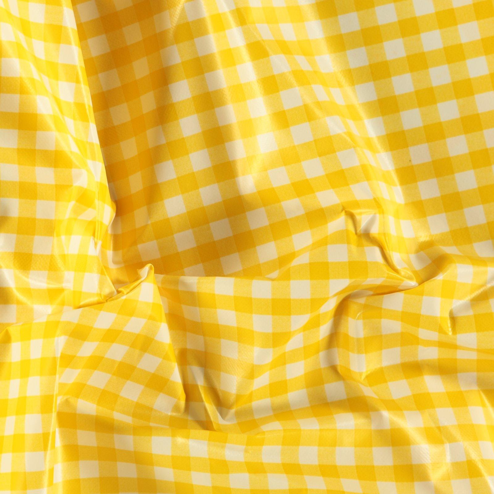 Non-woven oilcloth yellow/white check