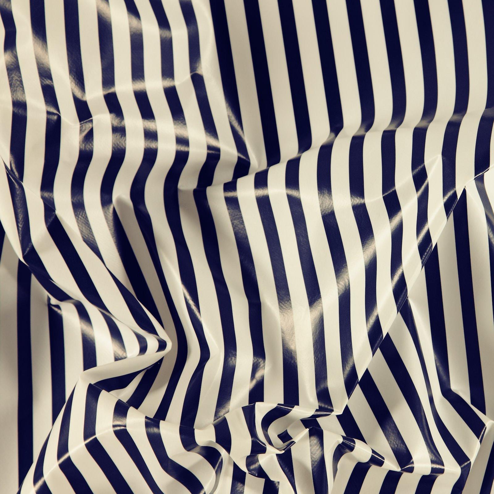 Non-woven oilcloth navy/white stripes