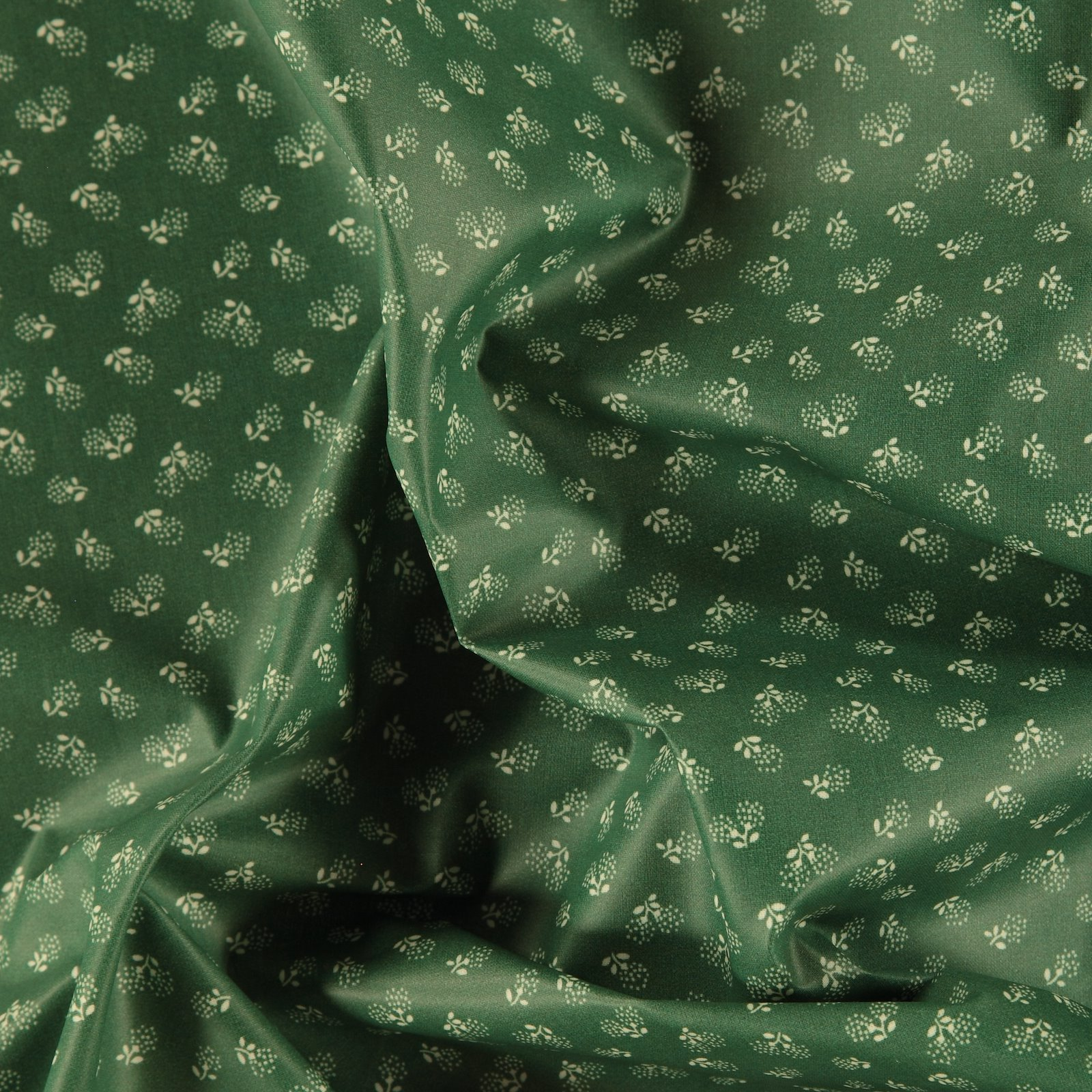 Woven oil cloth green mint with flowers