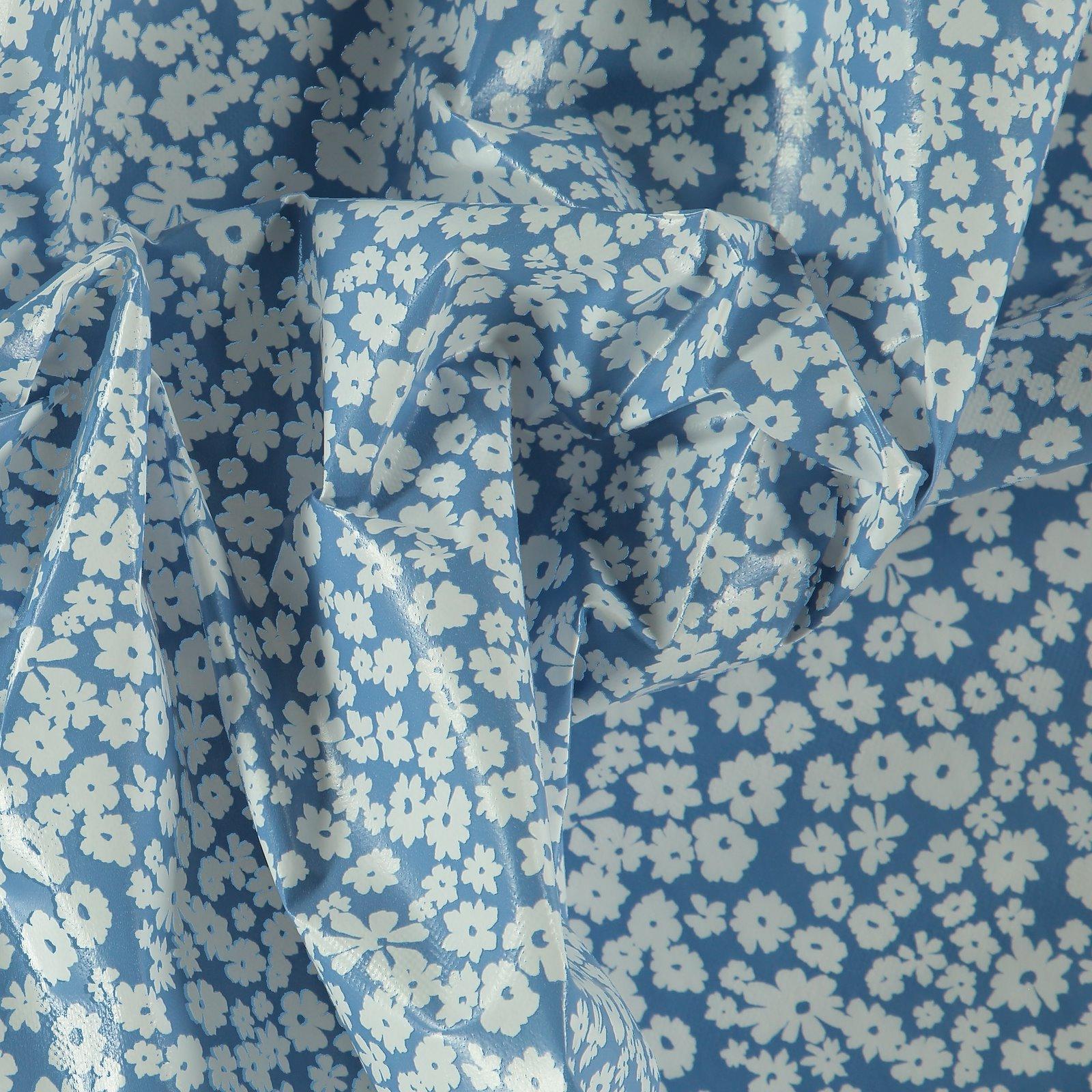 Non-woven oilcloth cobalt blue w flowers