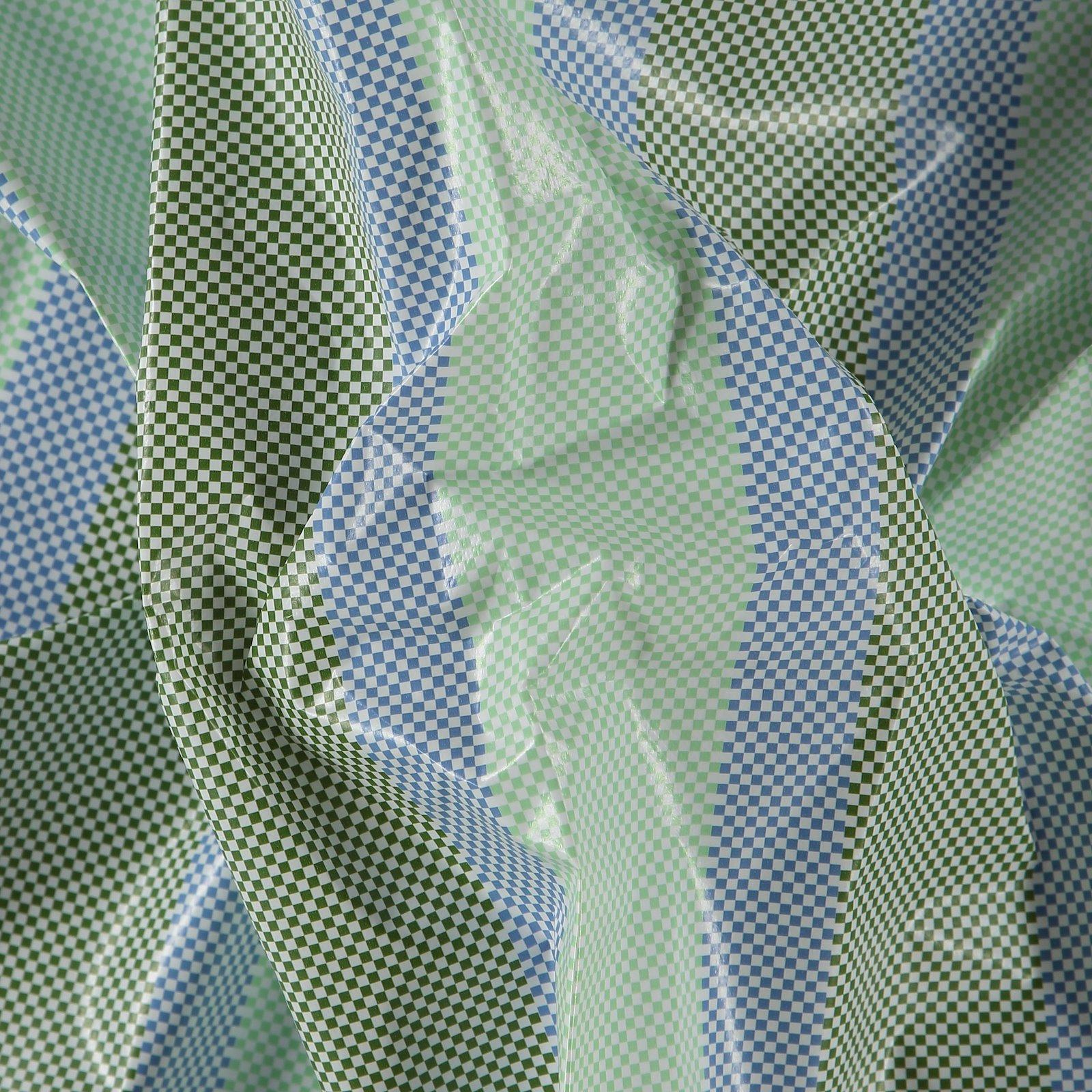 Non-woven oilcloth green/blue stripes