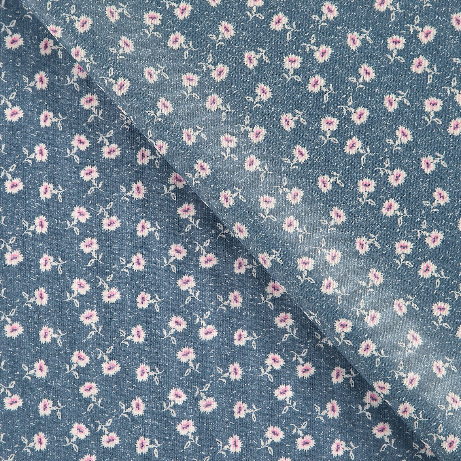 Woven oil cloth dusty blue with flowers