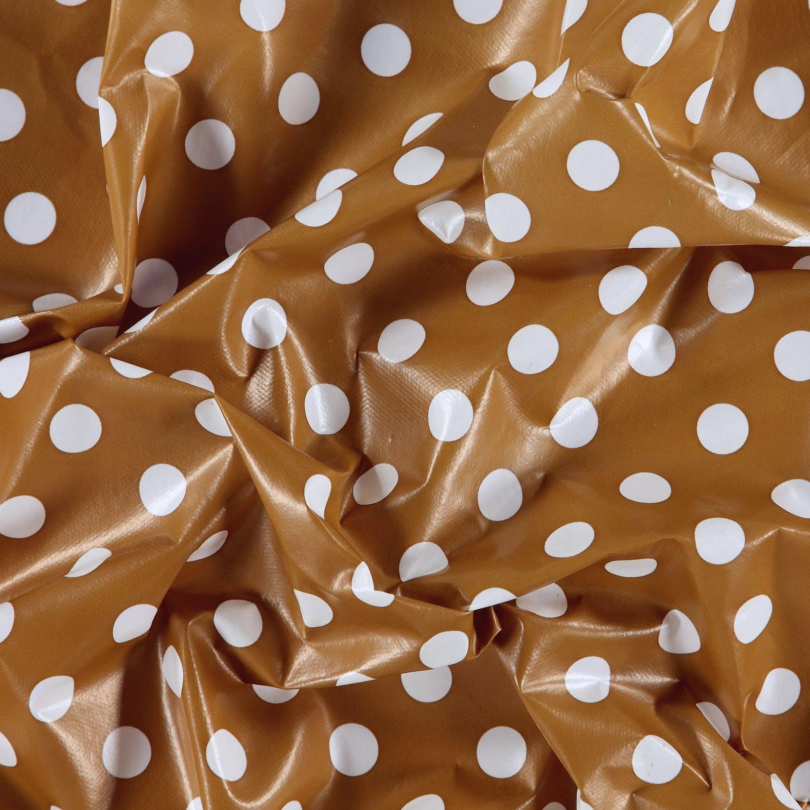 Non-woven oilcloth d curry w white dots