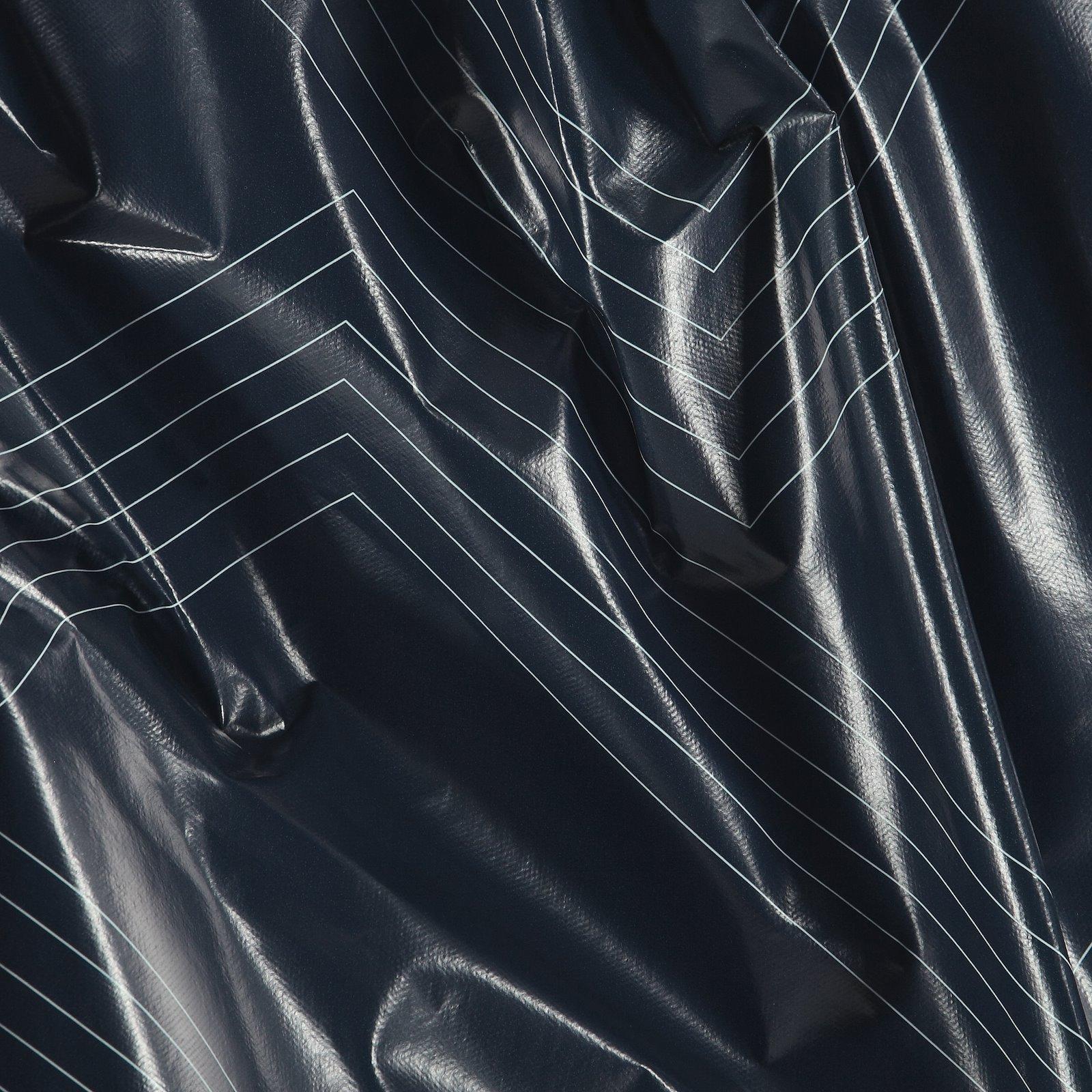 Non-woven oilcloth navy graphic zig zag