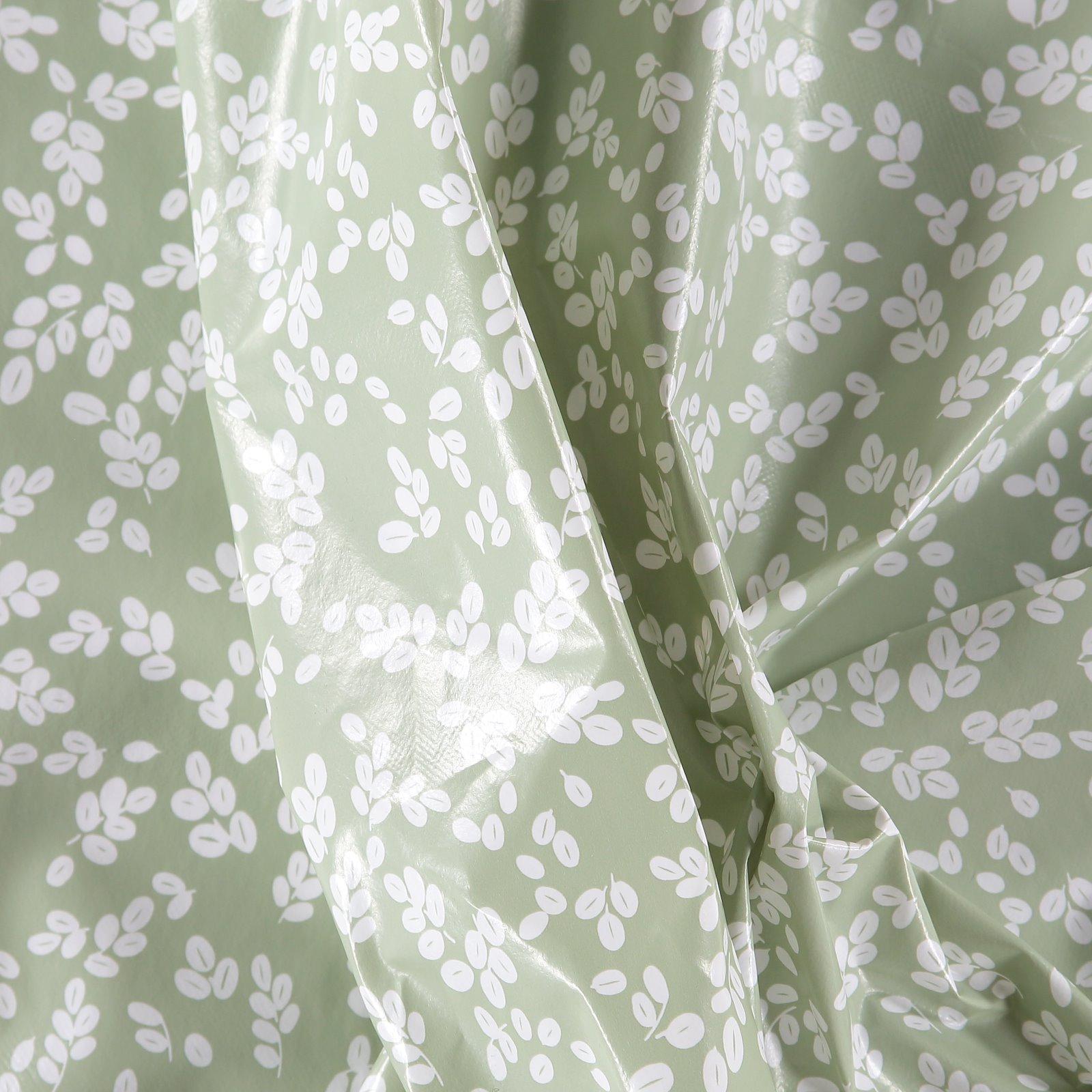 Non-woven oilcloth green w white leaves