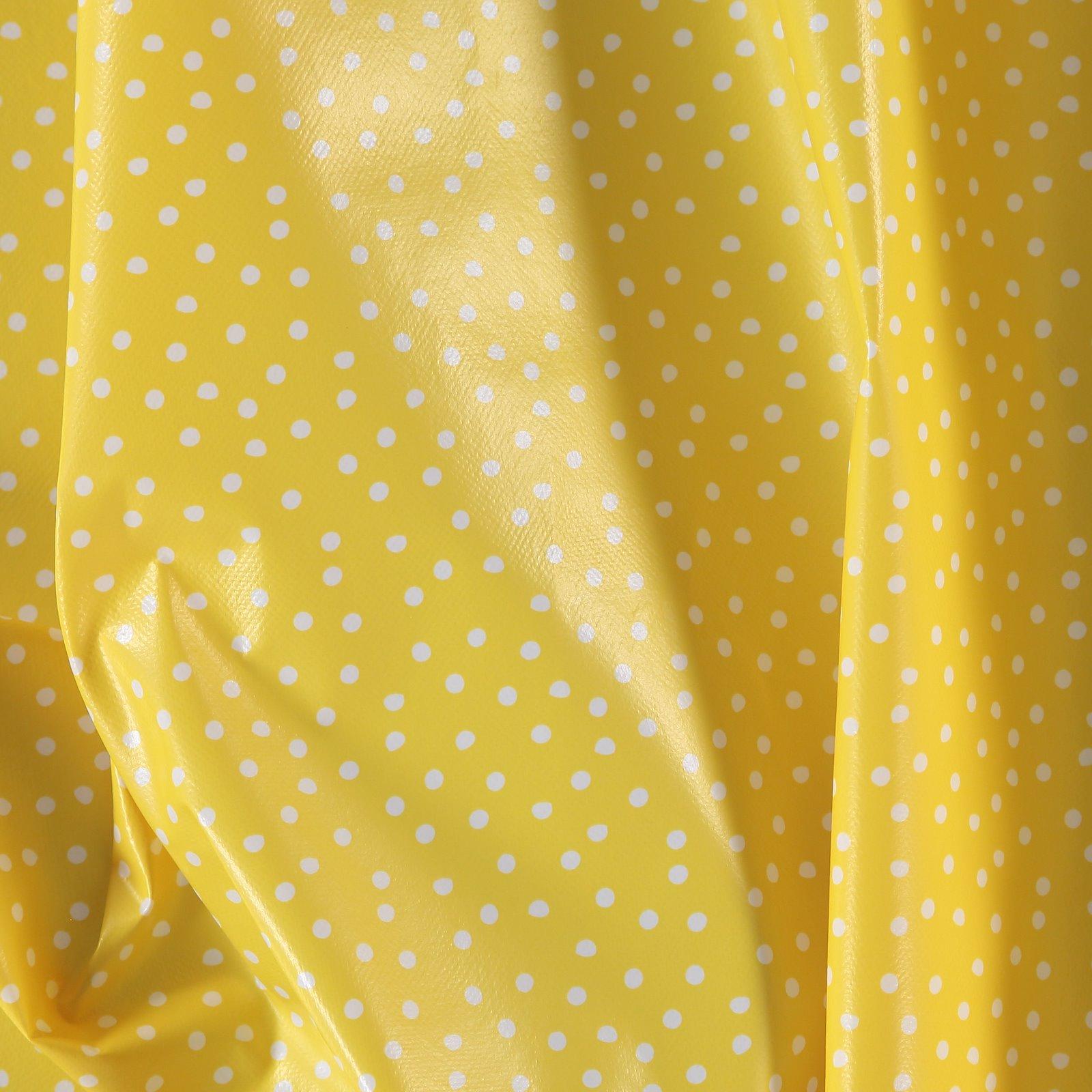 Non-woven oilcloth yellow w white dots