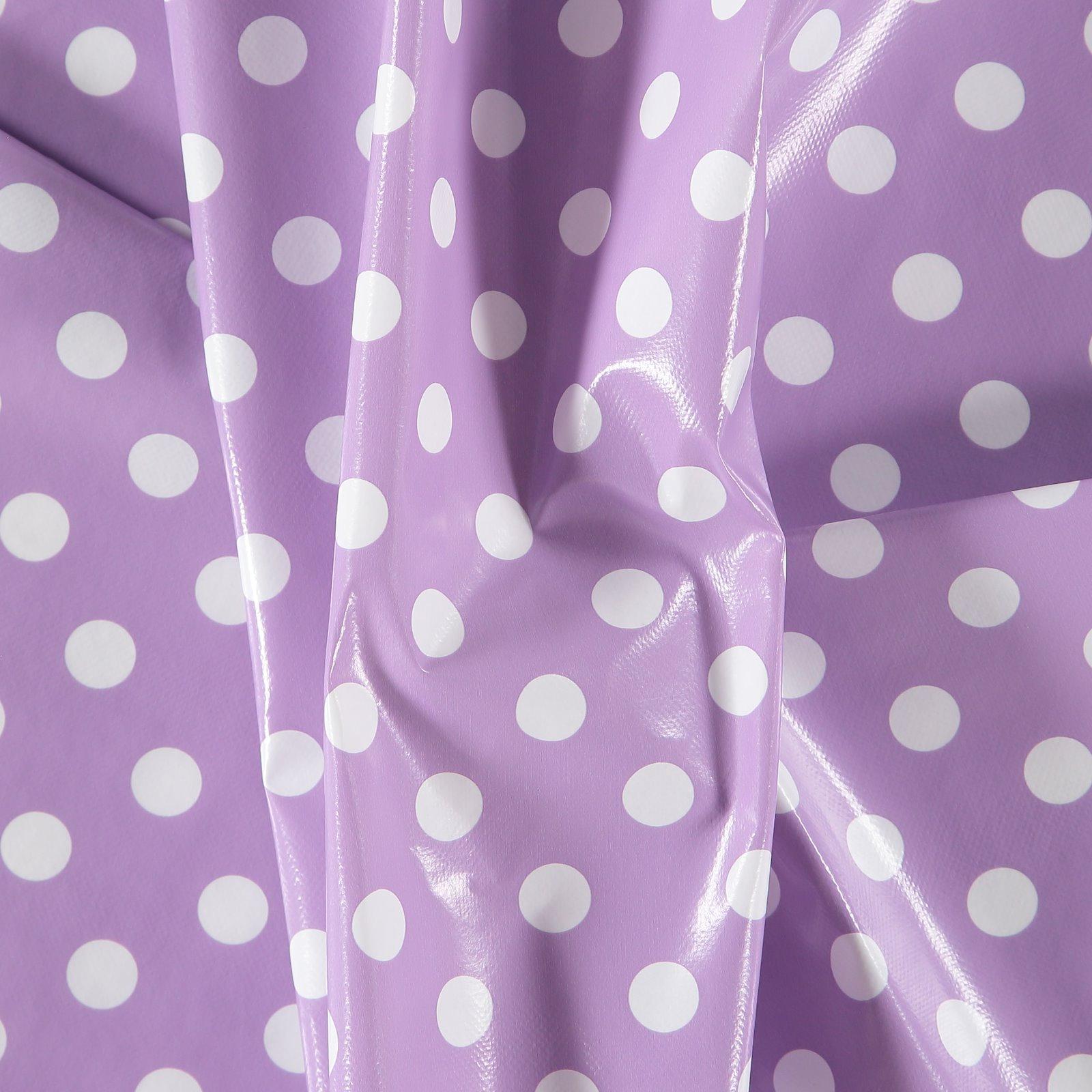 Non-woven oilcloth purple w white dots