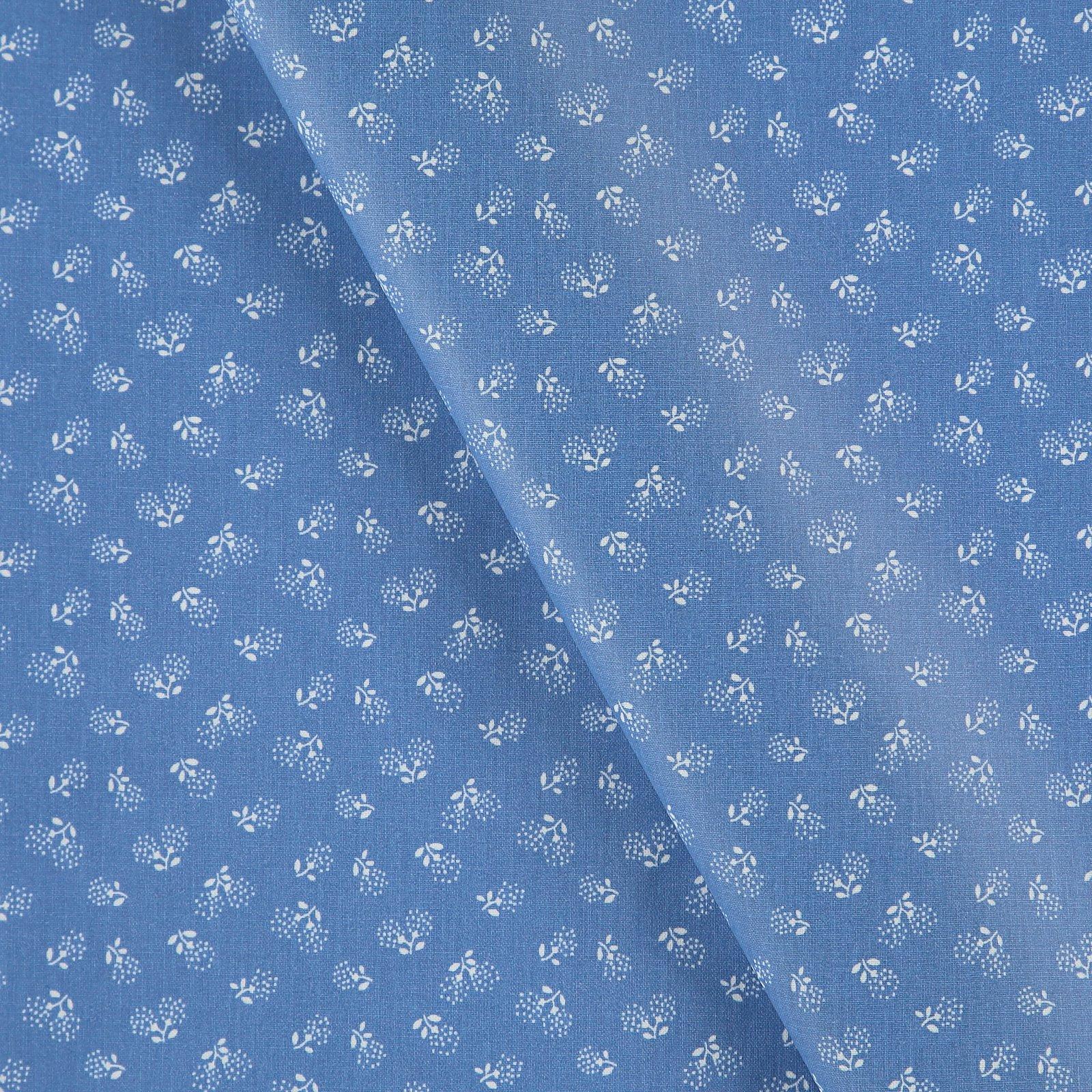 Woven oil cloth cobolt blue w flower