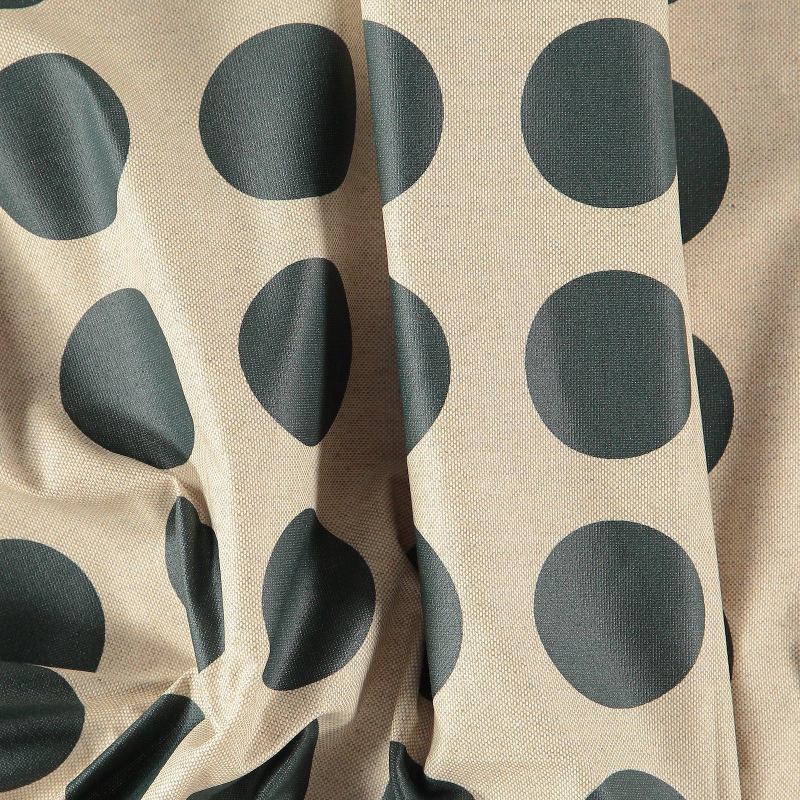 Woven oilcloth linenlook w green dots