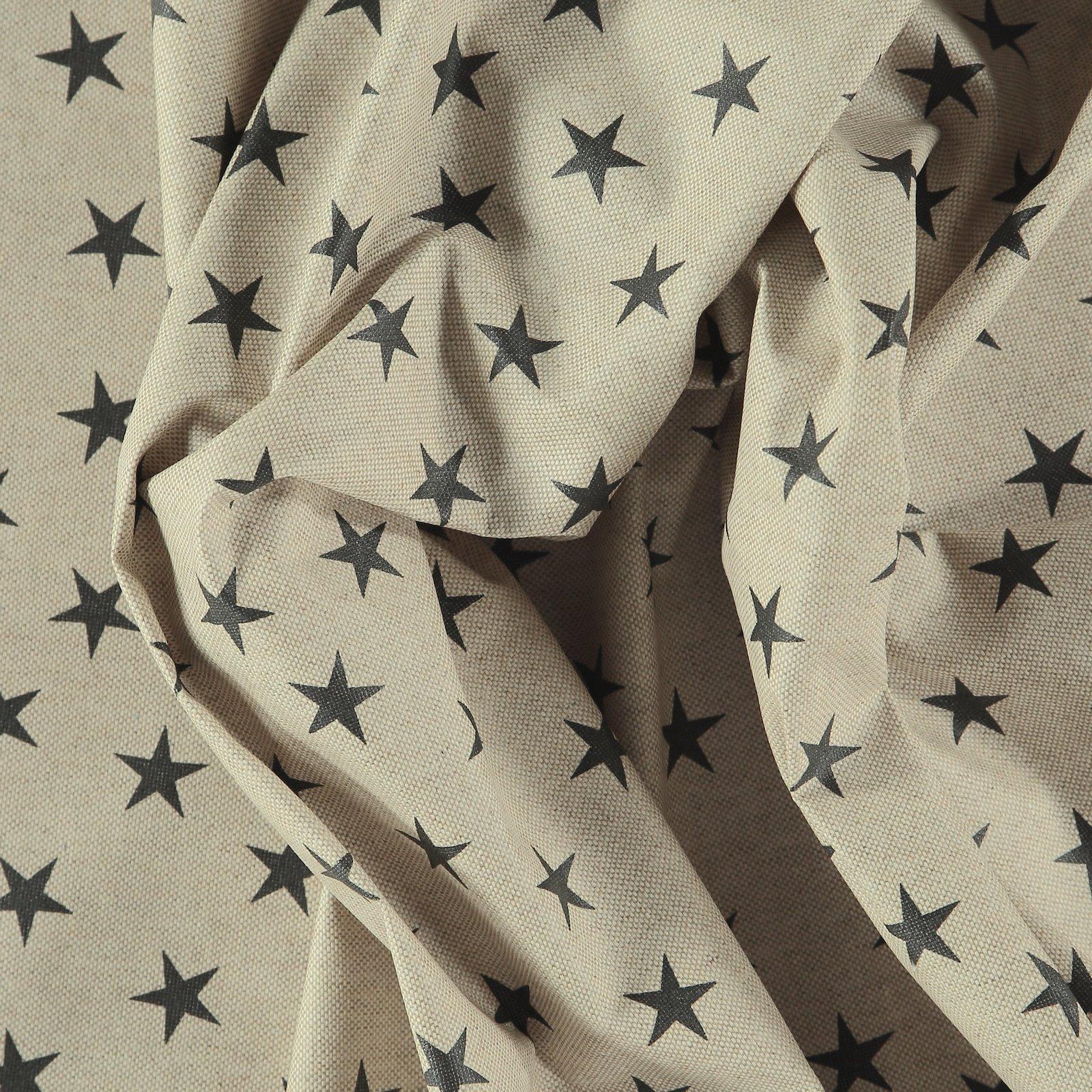 Woven oilcloth linenlook w black stars