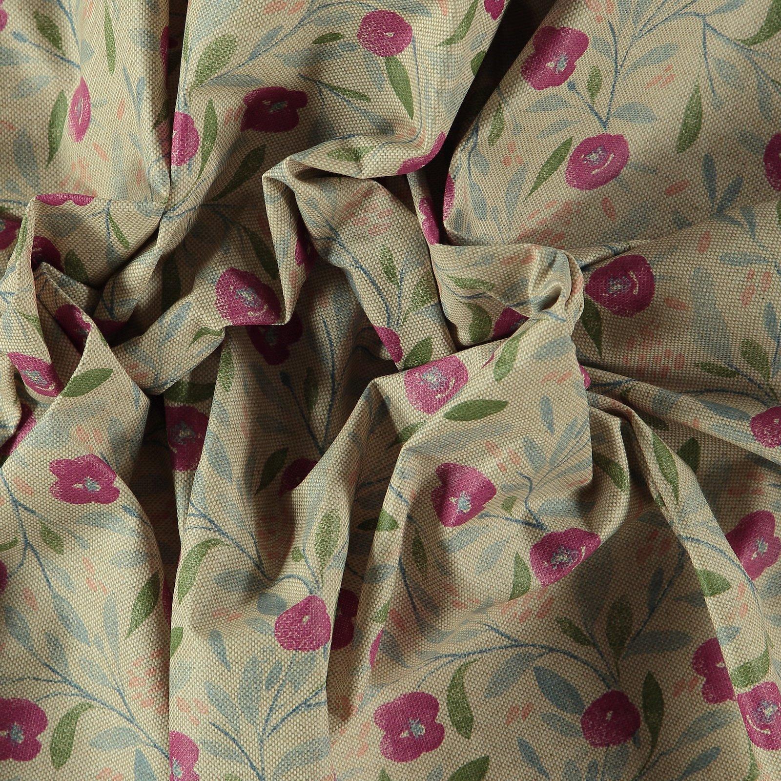Woven oilcloth linenlook w pink flowers